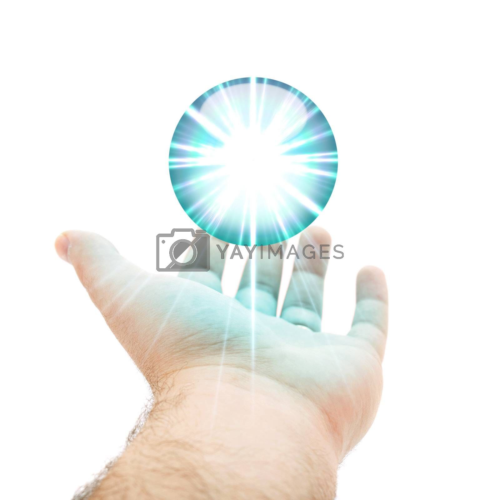 A hand being held out with a blue orb or round button hovering above the palm.
