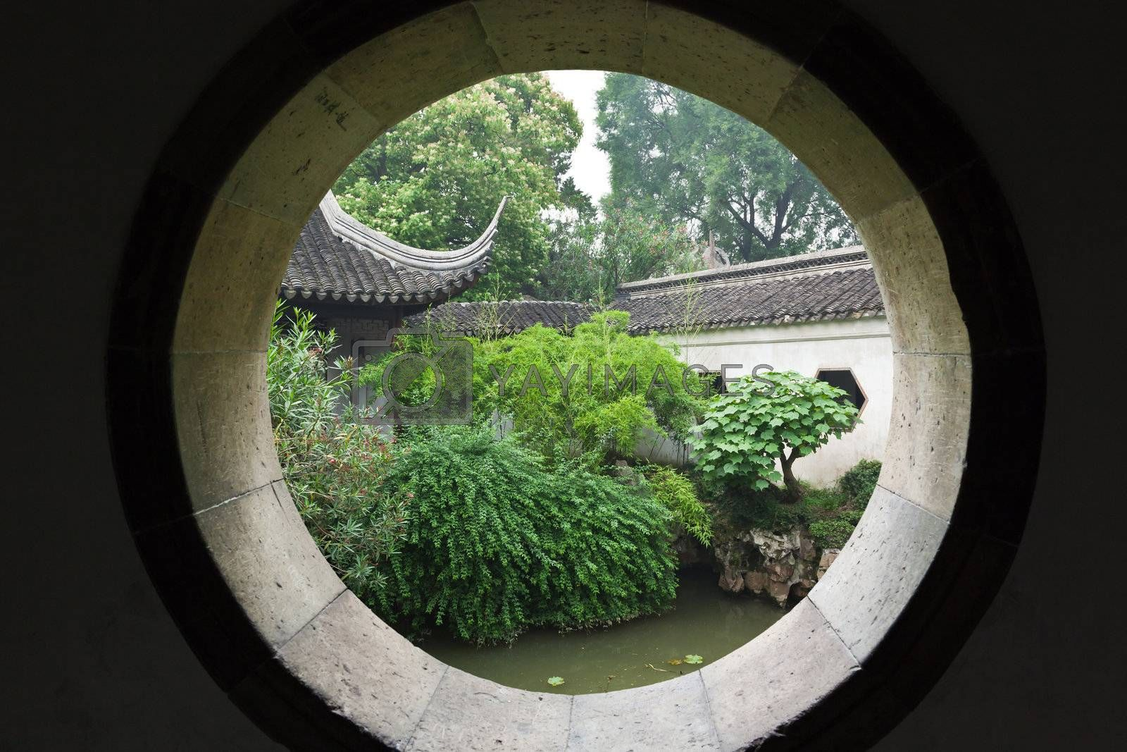 famous shizilin garden (lion forest rock formation) in Suzhou China