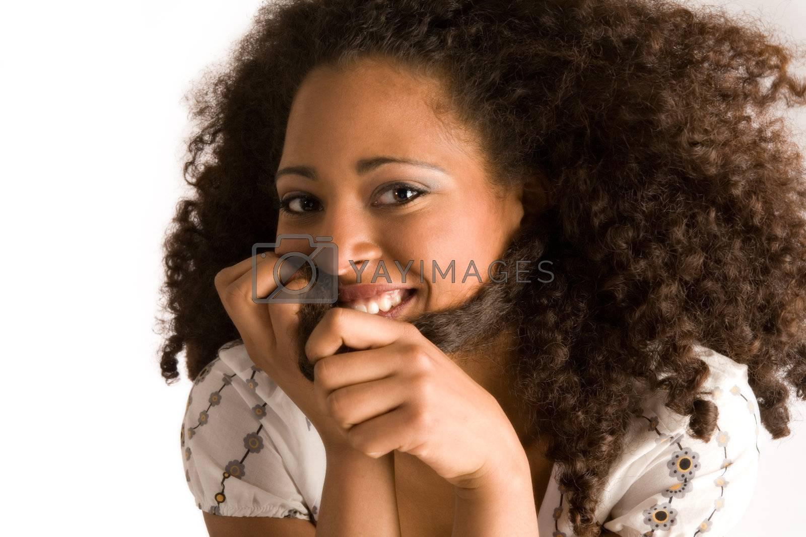 Portrait of a african girl having fun in the studio