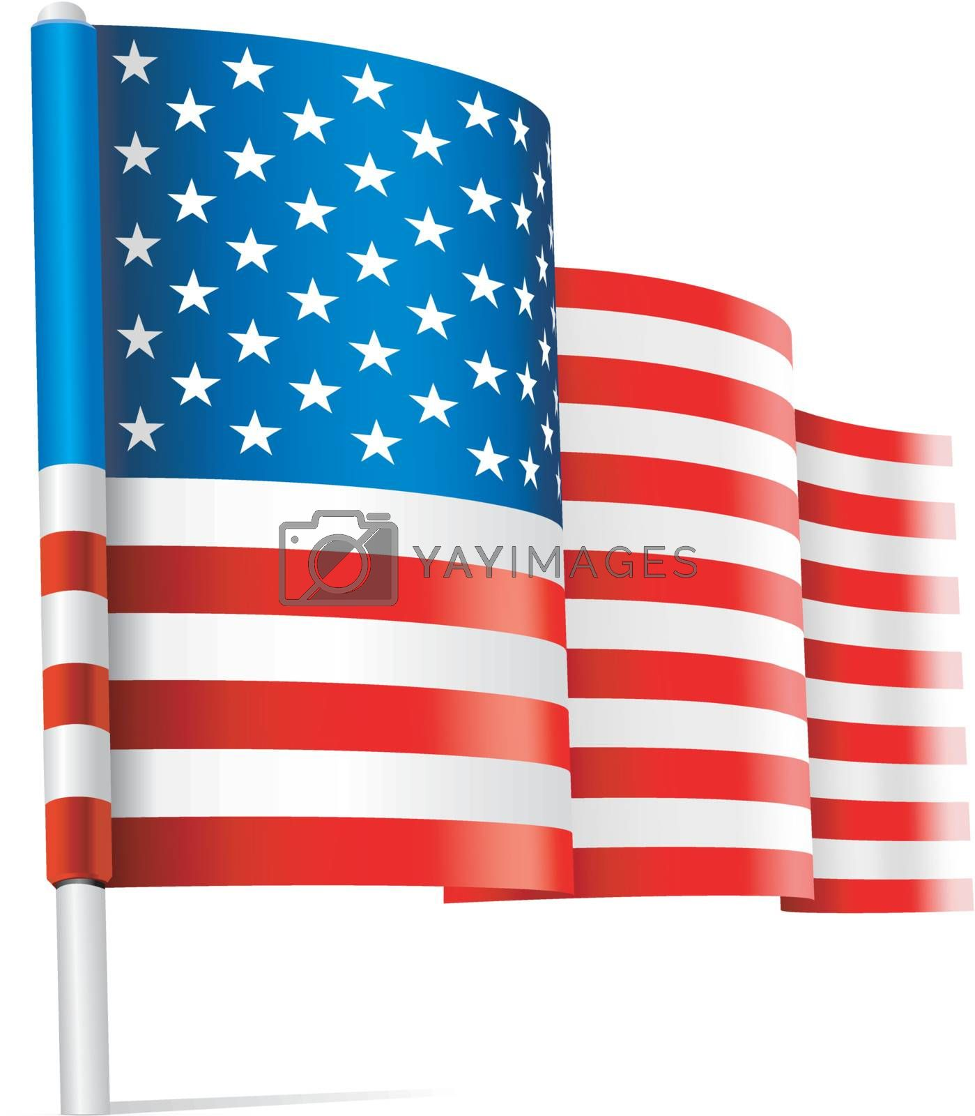 Vector - American USA flag waving on white background