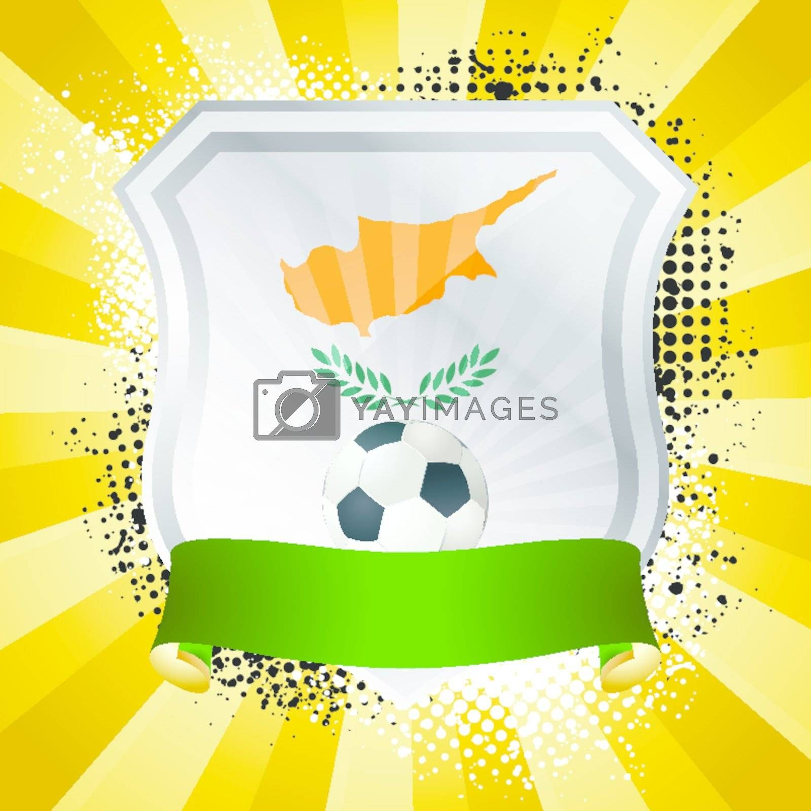 EPS 10. Shiny metal shield on bright background with flag of Cyprus