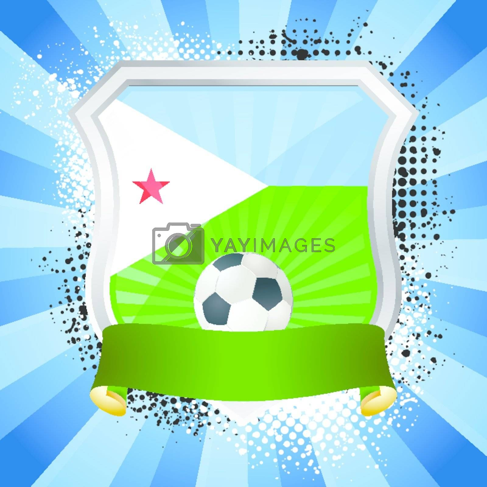 EPS 10. Shiny metal shield on bright background with flag of Djibouti