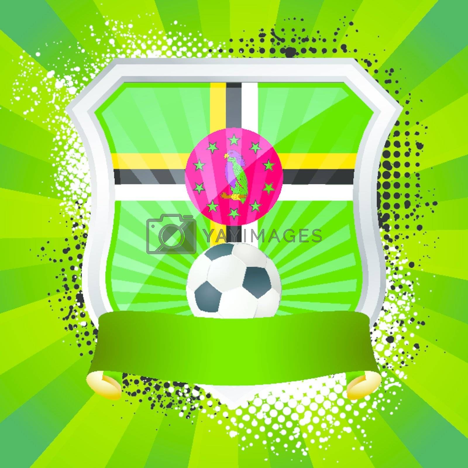 EPS 10. Shiny metal shield on bright background with flag of Dominica
