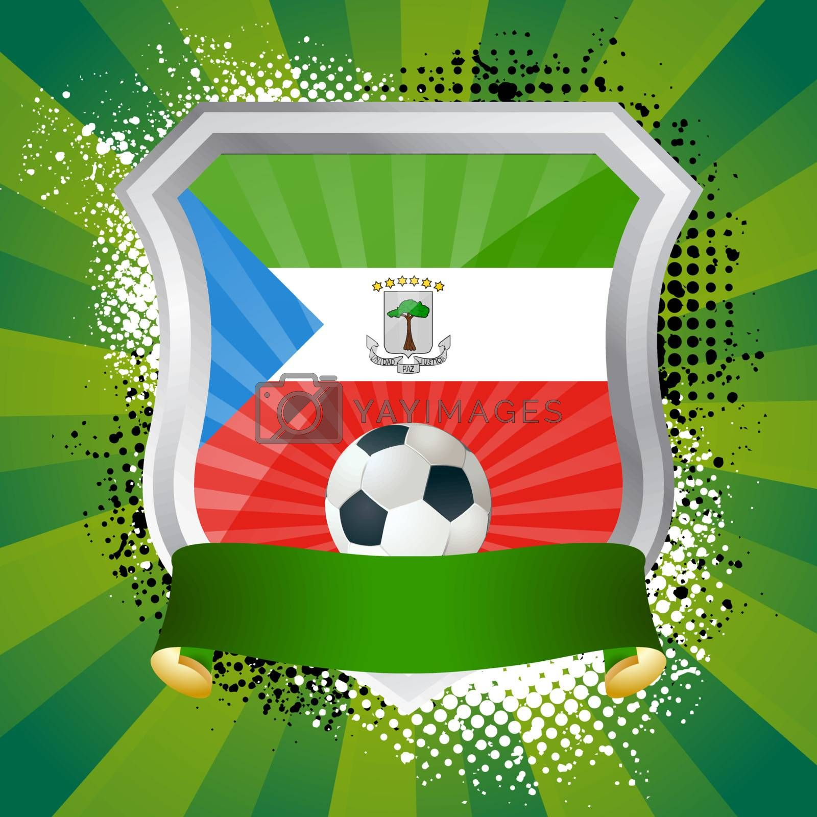 EPS 10. Shiny metal shield on bright background with flag of Equatorial Guinea