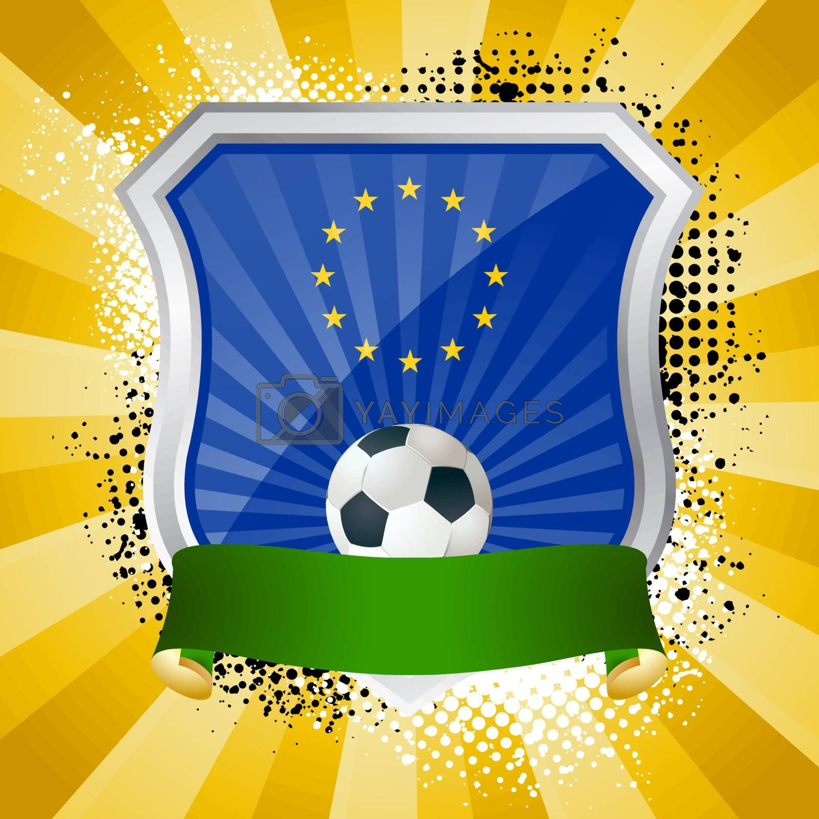 EPS 10. Shiny metal shield on bright background with flag of European Union