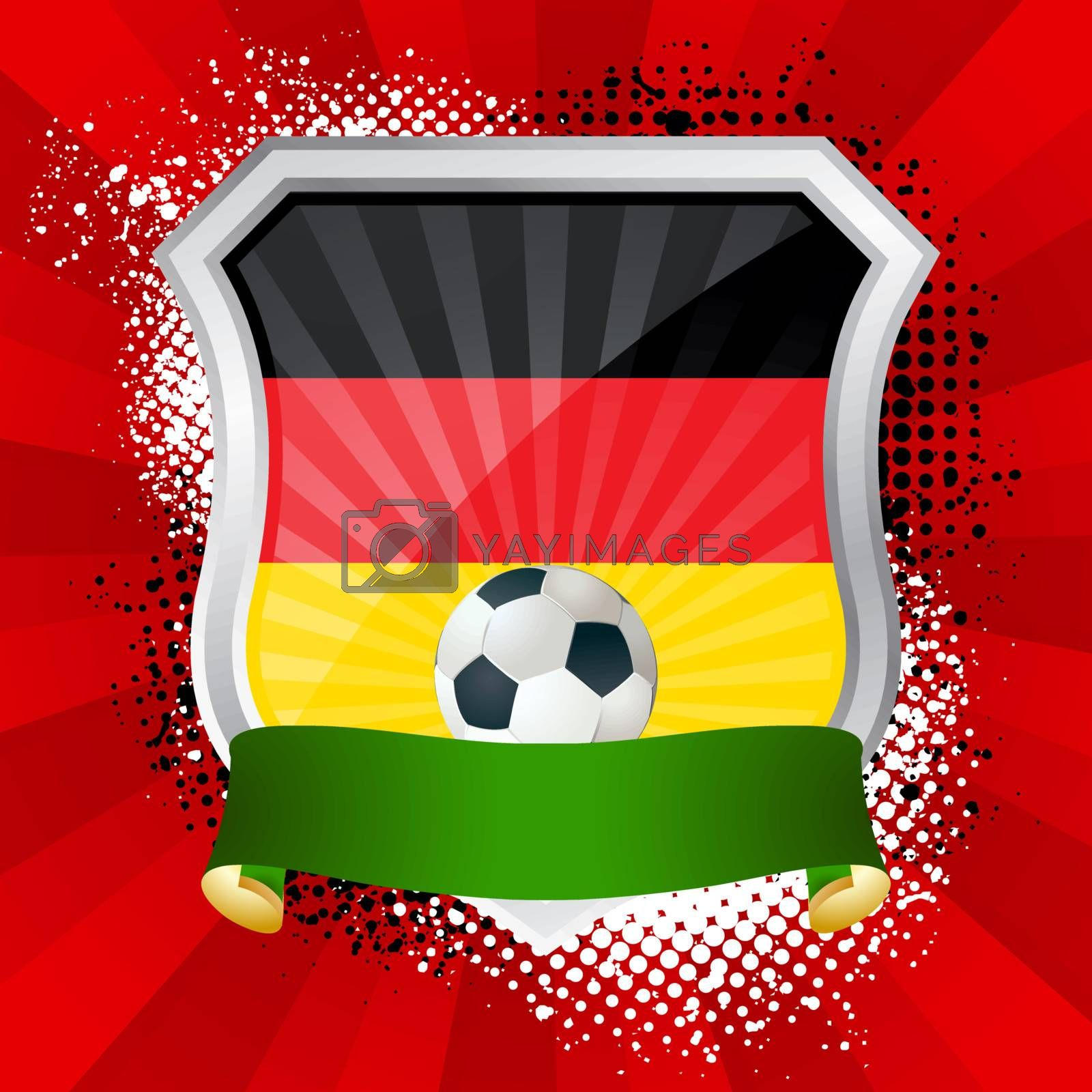 EPS 10. Shiny metal shield on bright background with flag of Germany