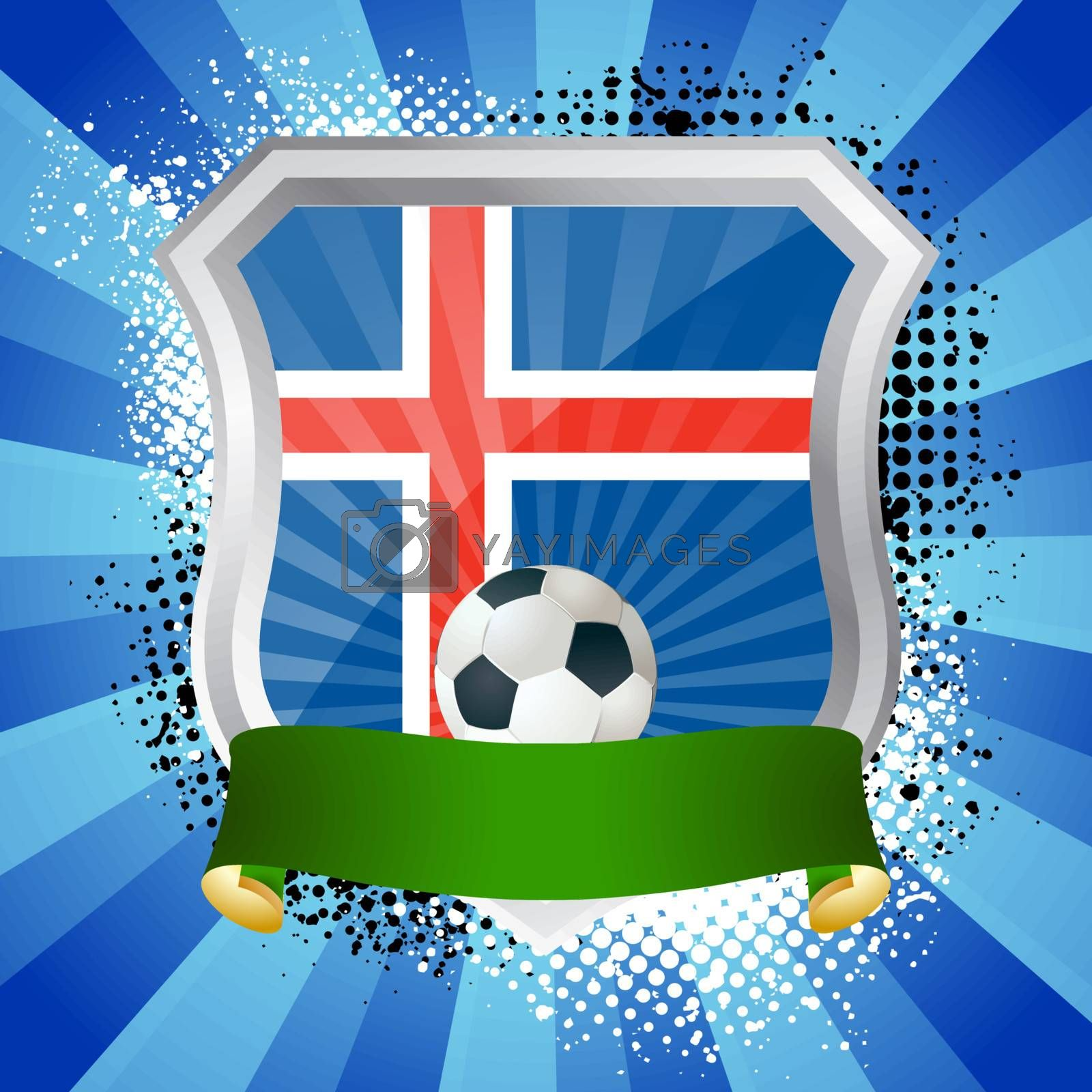 EPS 10. Shiny metal shield on bright background with flag of Iceland