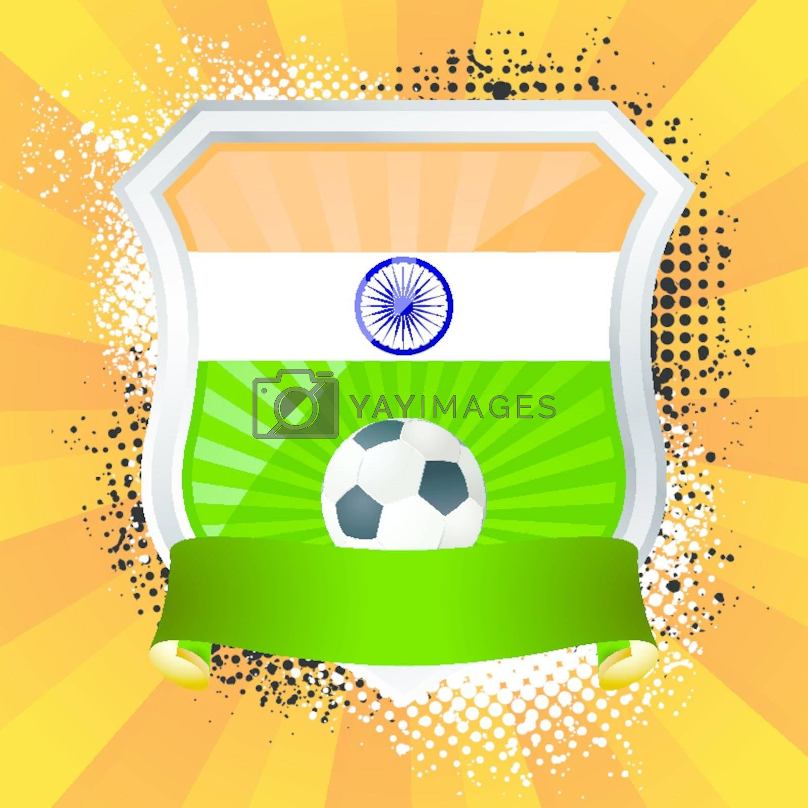 EPS 10. Shiny metal shield on bright background with flag of India