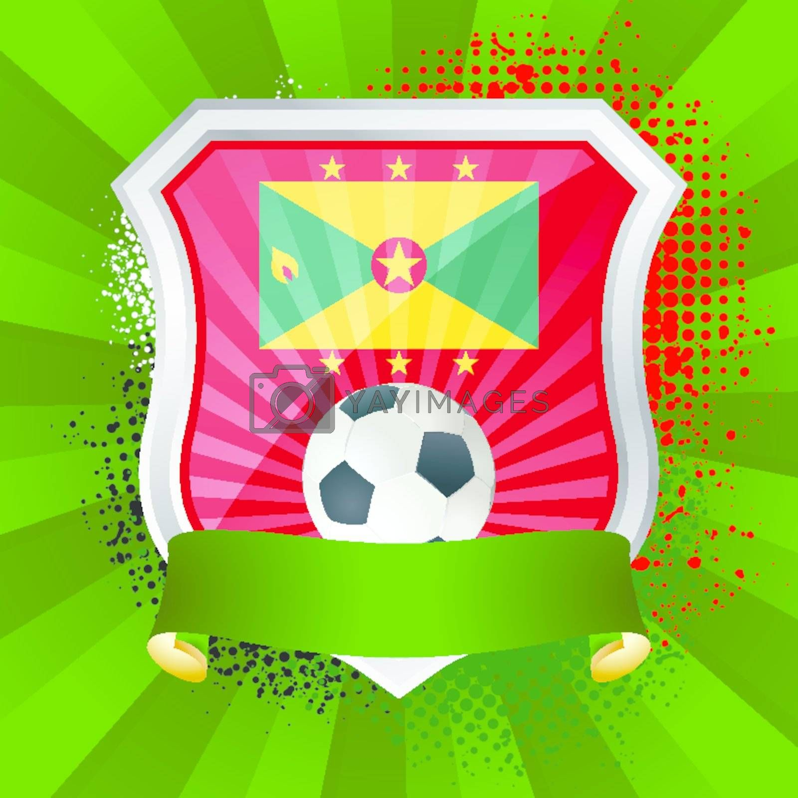 EPS 10. Shiny metal shield on bright background with flag of Grenada