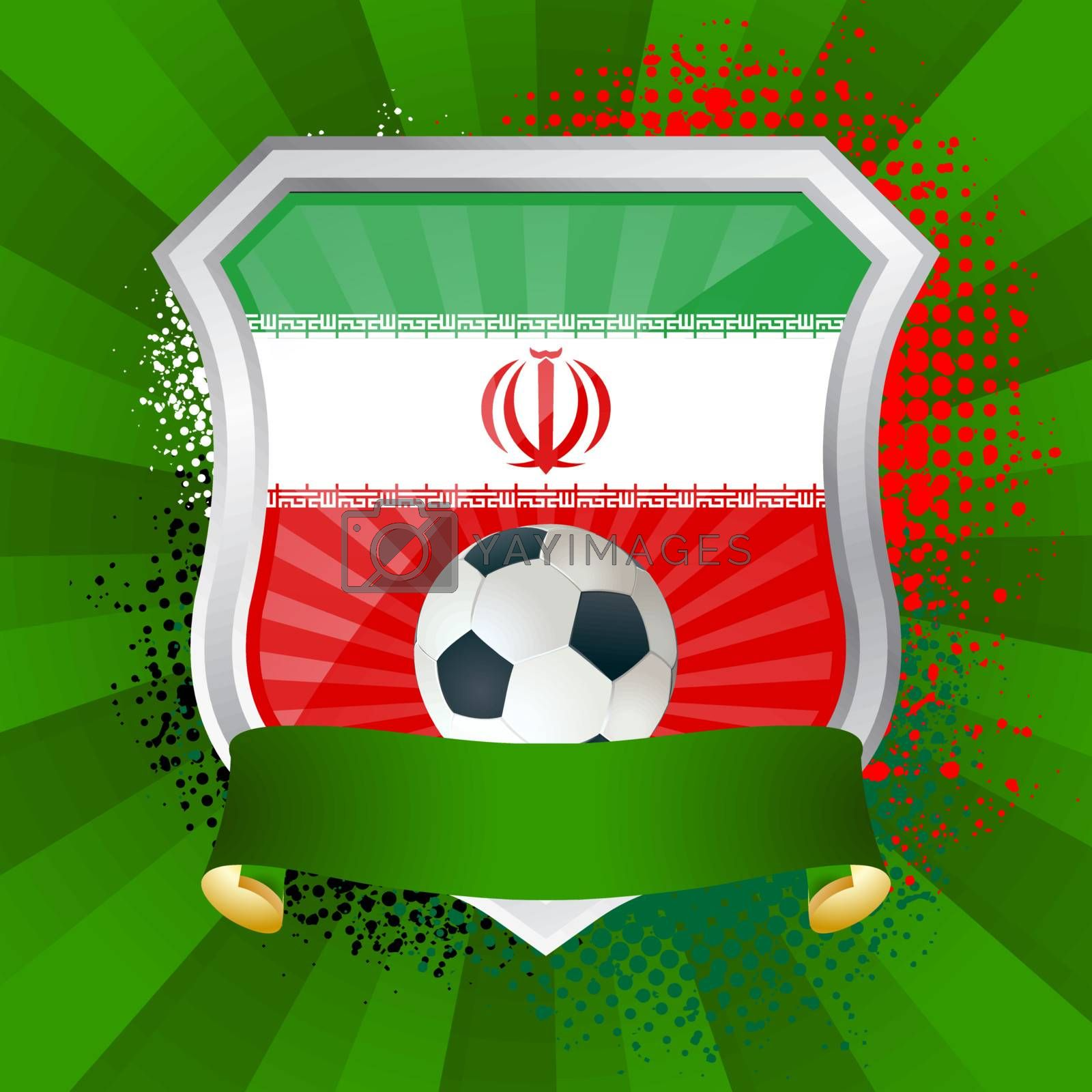 EPS 10. Shiny metal shield on bright background with flag of Iran