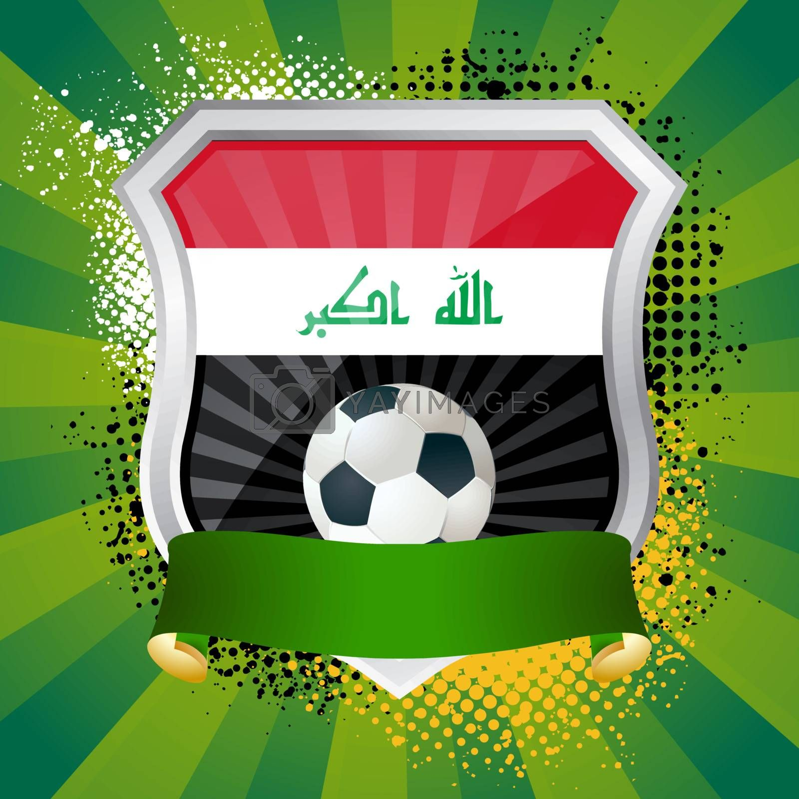 EPS 10. Shiny metal shield on bright background with flag of Iraq