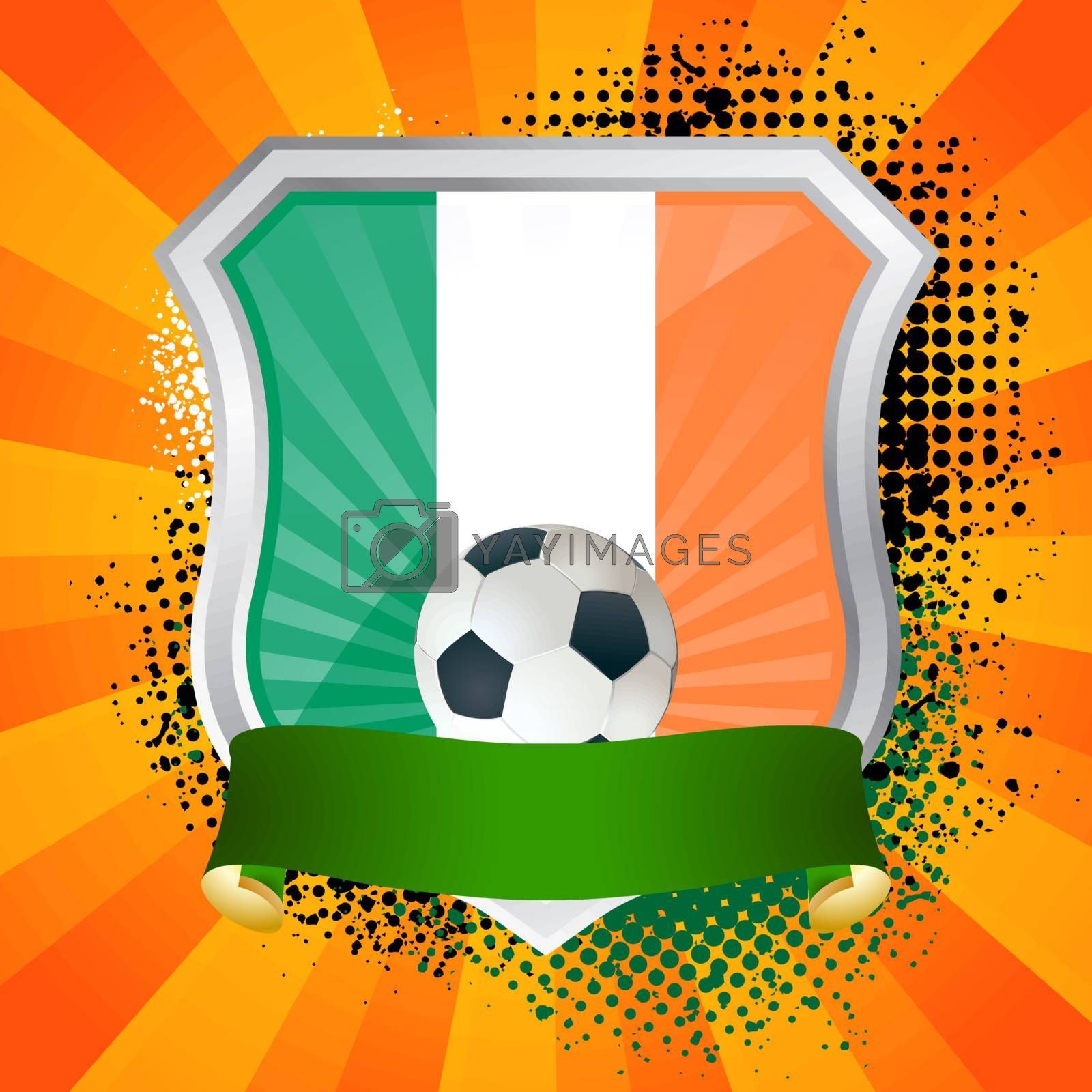 EPS 10. Shiny metal shield on bright background with flag of Ireland