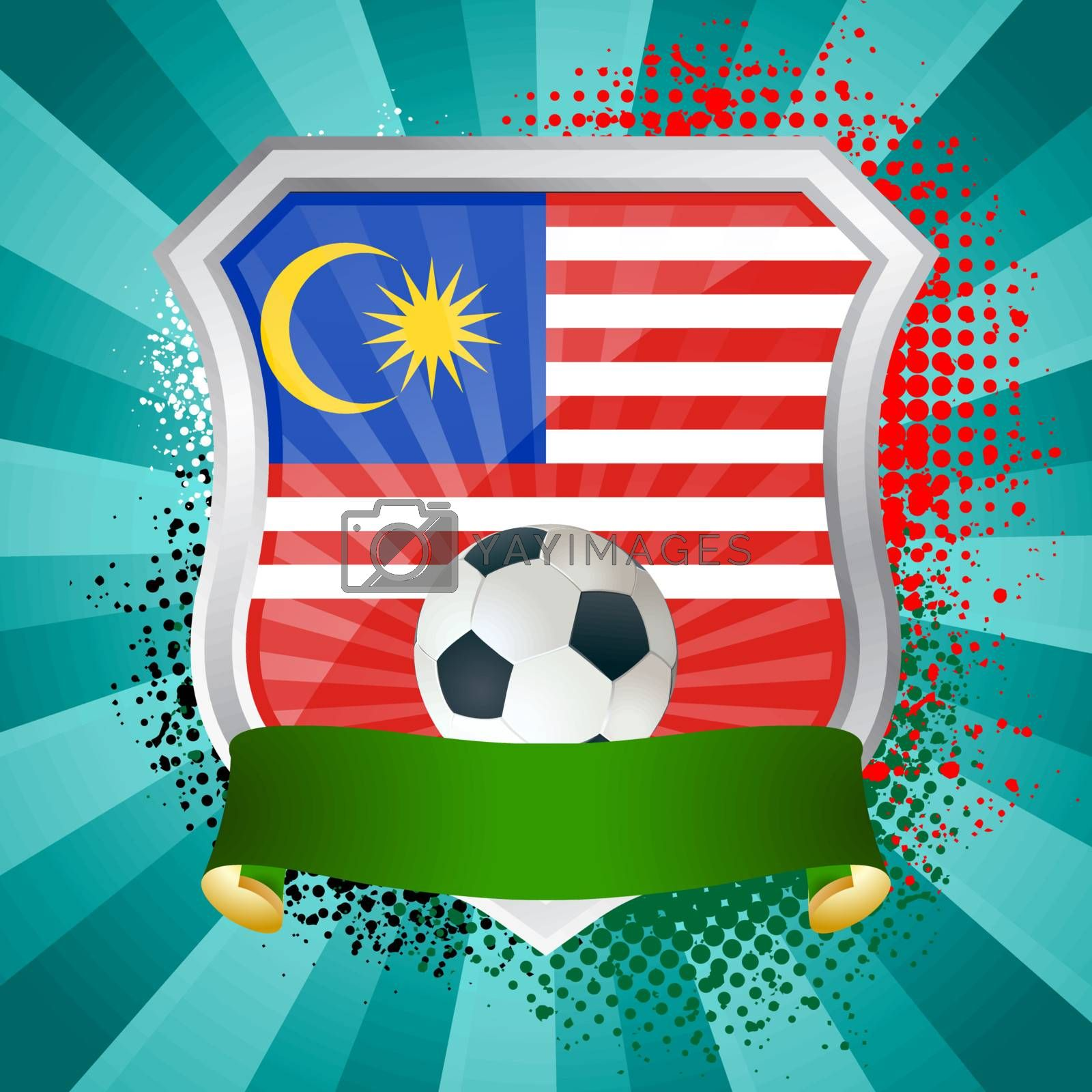 EPS 10. Shiny metal shield on bright background with flag of Malaysia
