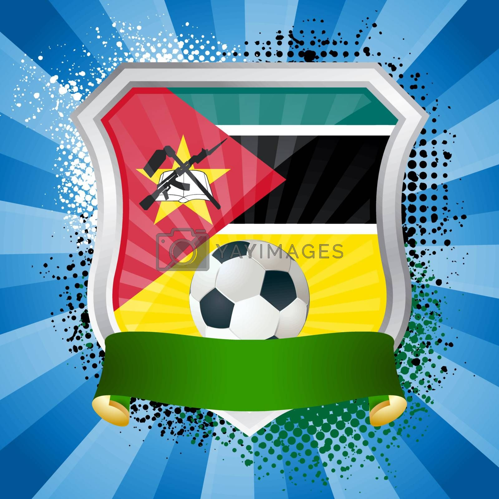 EPS 10. Shiny metal shield on bright background with flag of Mozambique