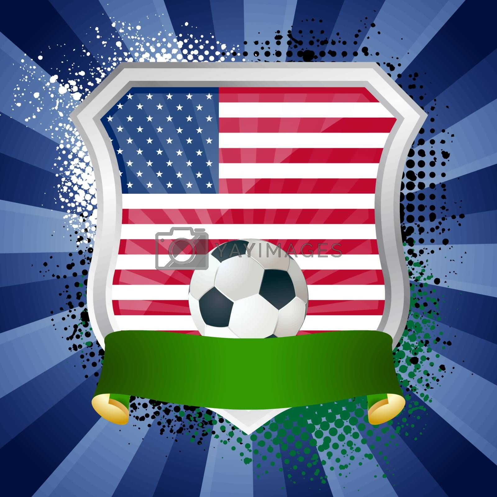 EPS 10. Shiny metal shield on bright background with flag of United States of Americ