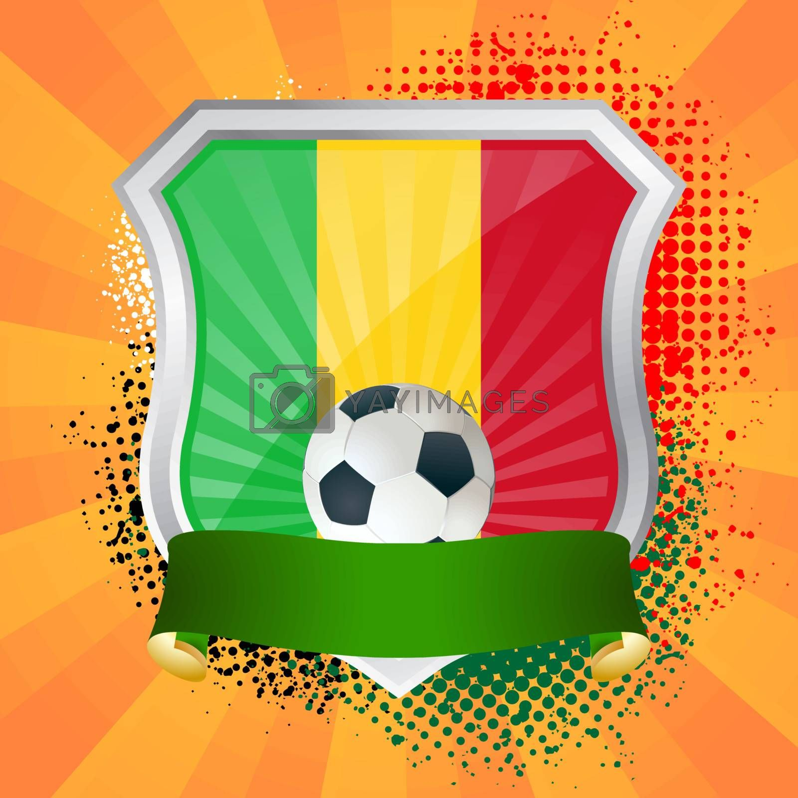 EPS 10. Shiny metal shield on bright background with flag of Mali