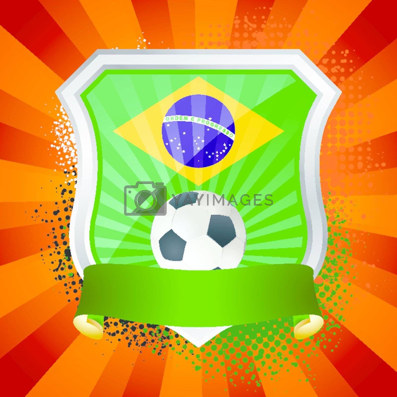 EPS 10. Shiny metal shield on bright background with flag of Republica Federativa do Brasil