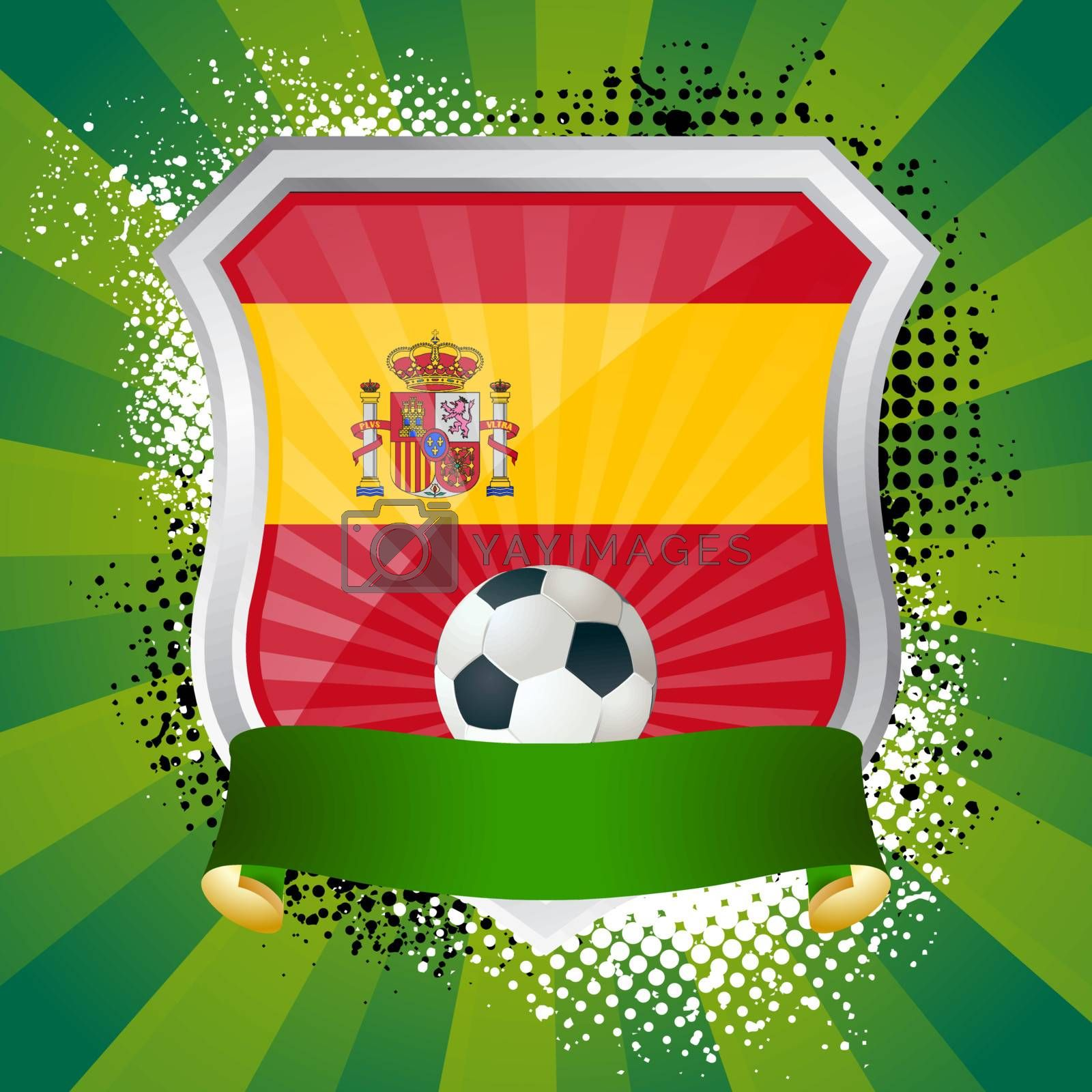 EPS 10. Shiny metal shield on bright background with flag of Spain