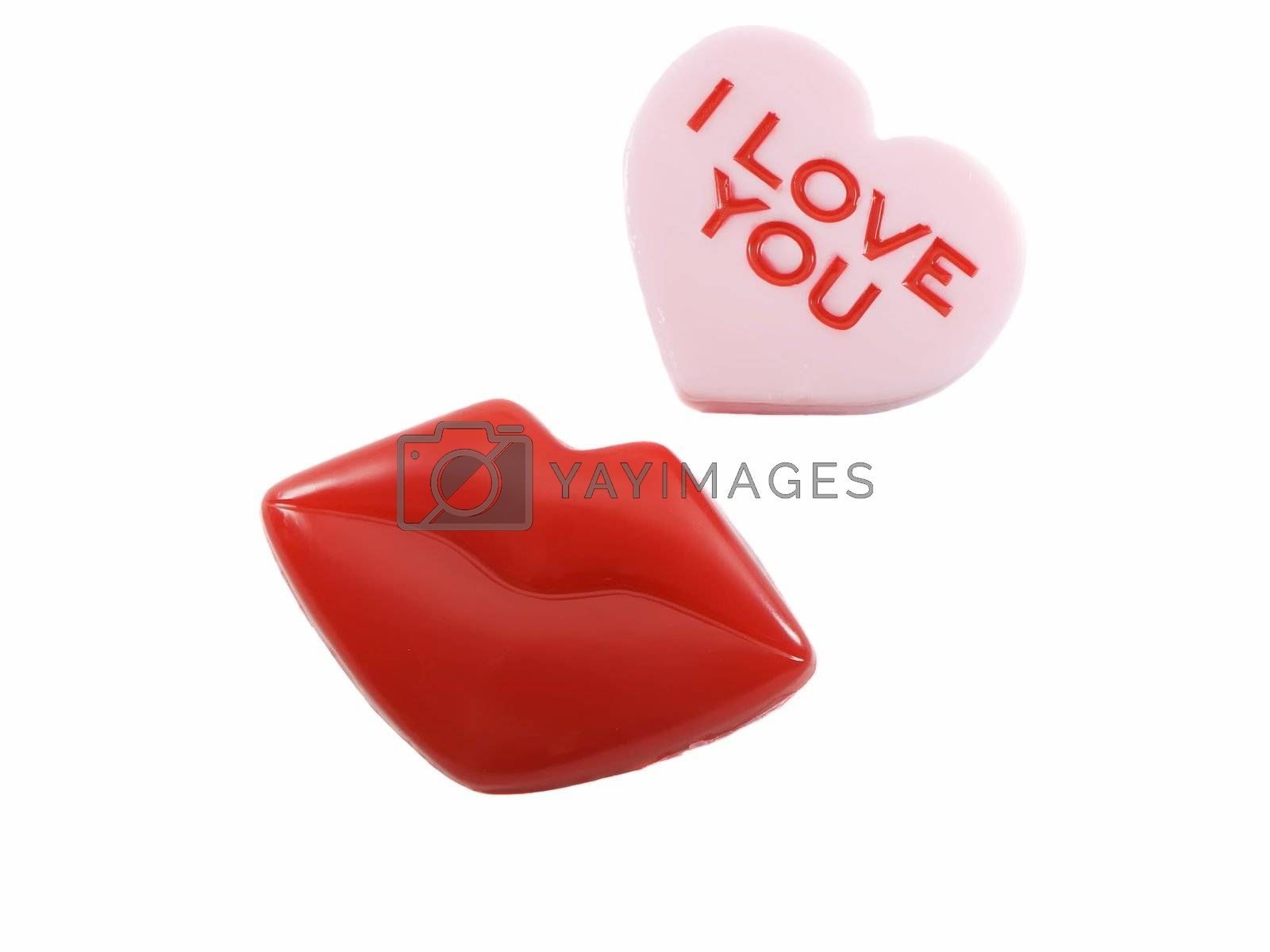 Red lips and heart shape with i love you on it, isolated on white