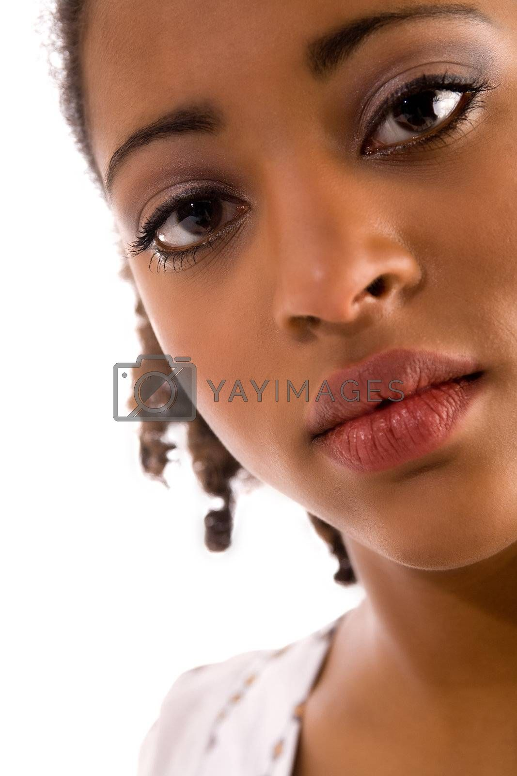 Close up of a african womans face in the studio