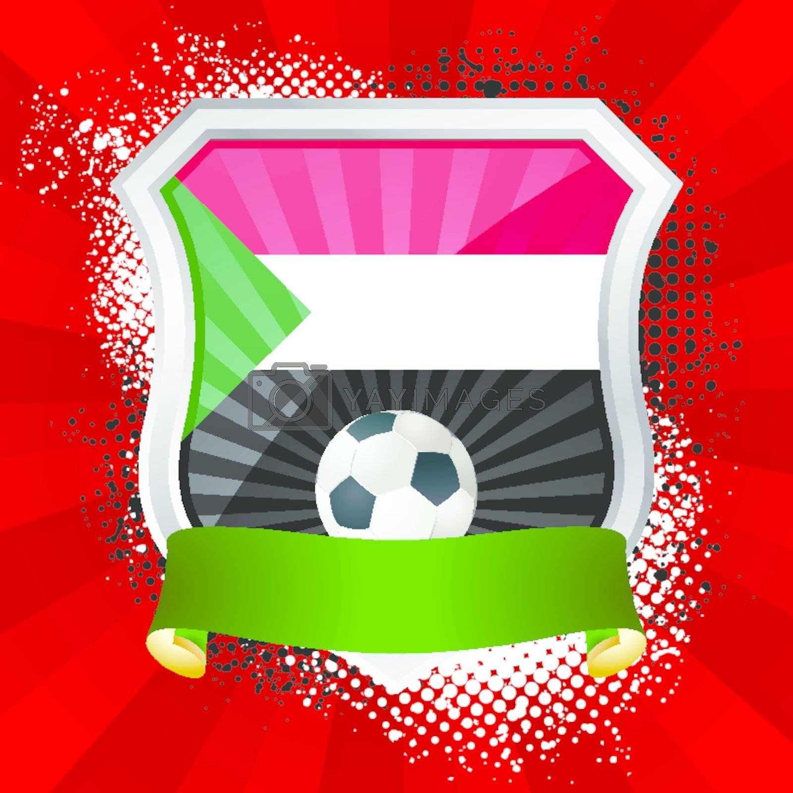 EPS 10. Shiny metal shield on bright background with flag of Sudan