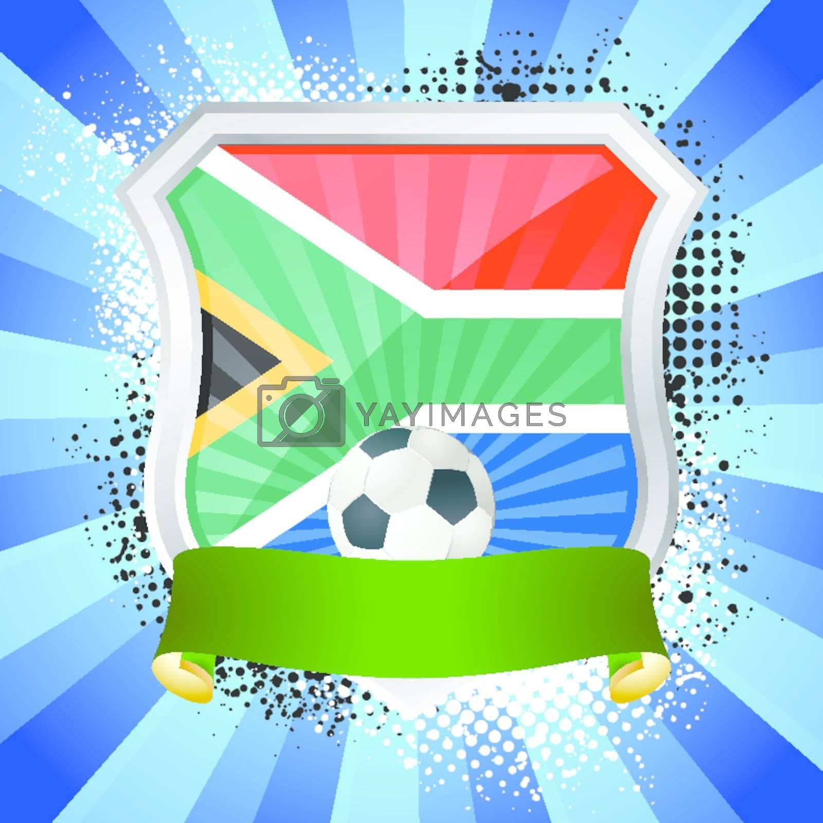 EPS 10. Shiny metal shield on bright background with flag of South Africa