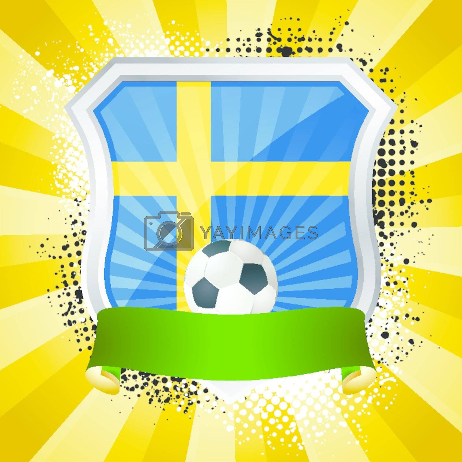 EPS 10. Shiny metal shield on bright background with flag of Sweden