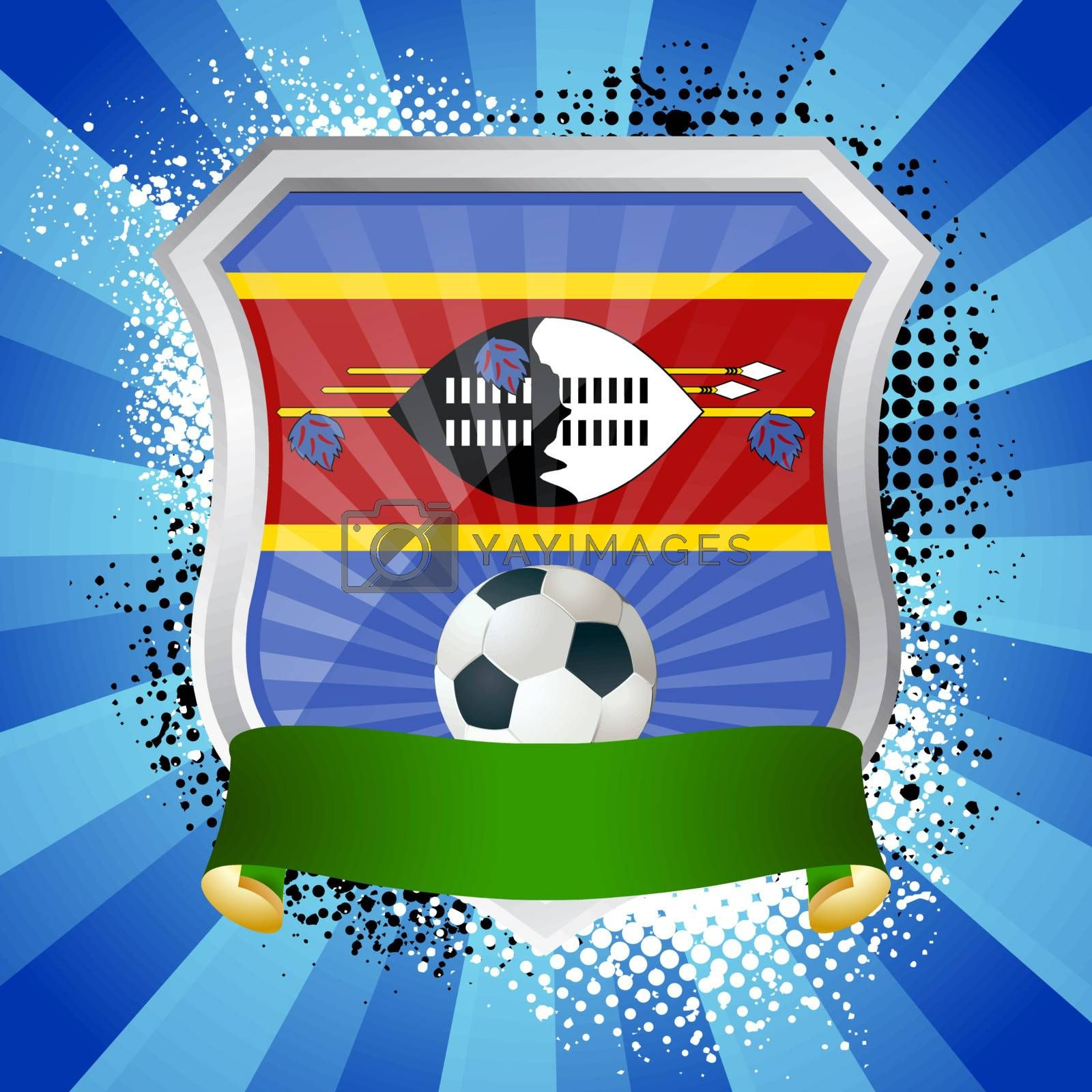 EPS 10. Shiny metal shield on bright background with flag of Swaziland