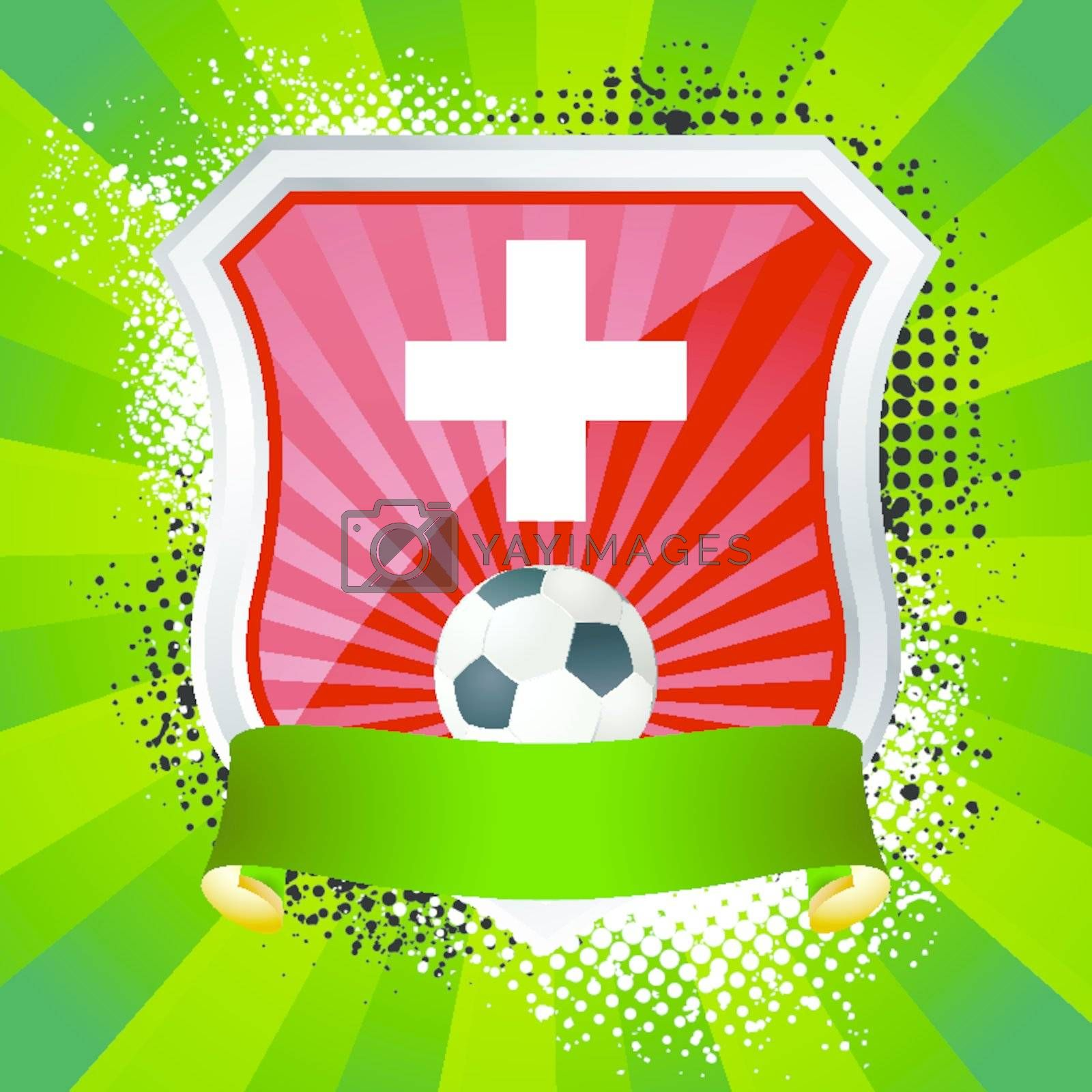 EPS 10. Shiny metal shield on bright background with flag of Switzerland