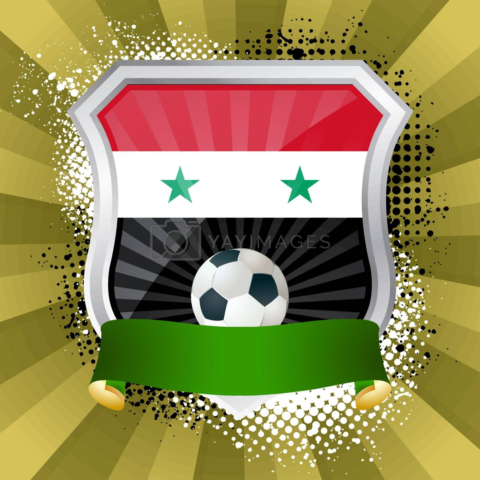 EPS 10. Shiny metal shield on bright background with flag of Syria