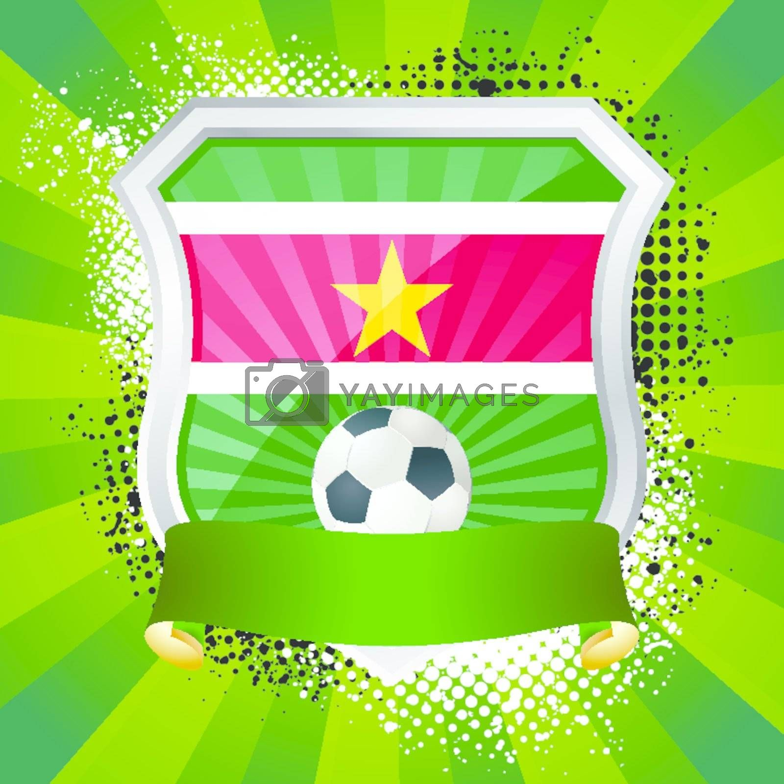 EPS 10. Shiny metal shield on bright background with flag of Suriname