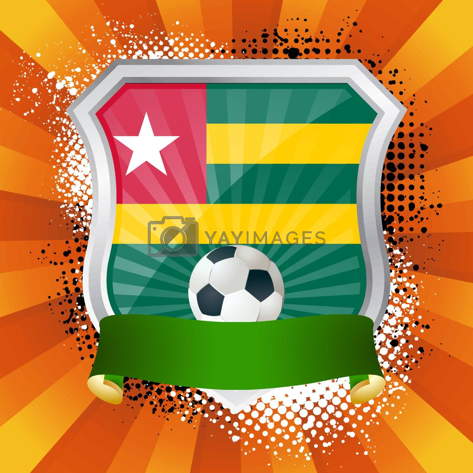 EPS 10. Shiny metal shield on bright background with flag of Togo