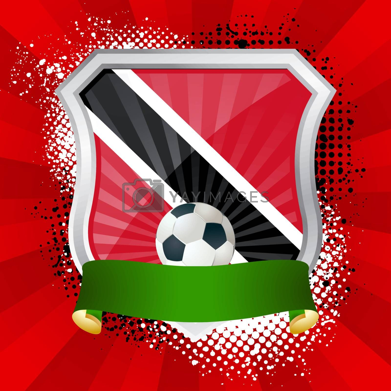 EPS 10. Shiny metal shield on bright background with flag of Trinidad and Tobago