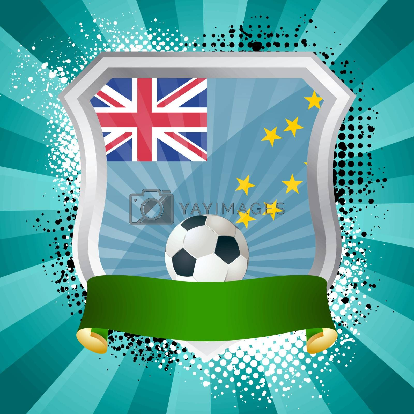EPS 10. Shiny metal shield on bright background with flag of Tuvalu