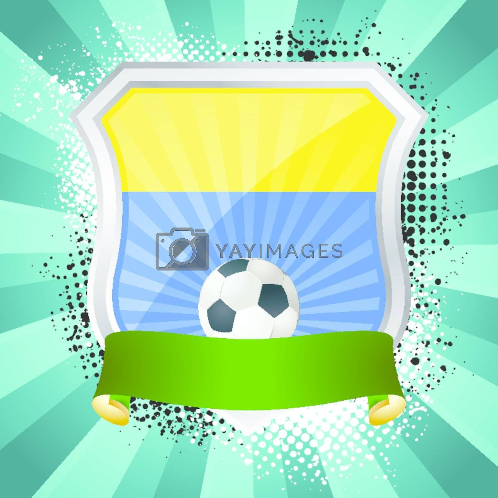 EPS 10. Shiny metal shield on bright background with flag of Ukraine