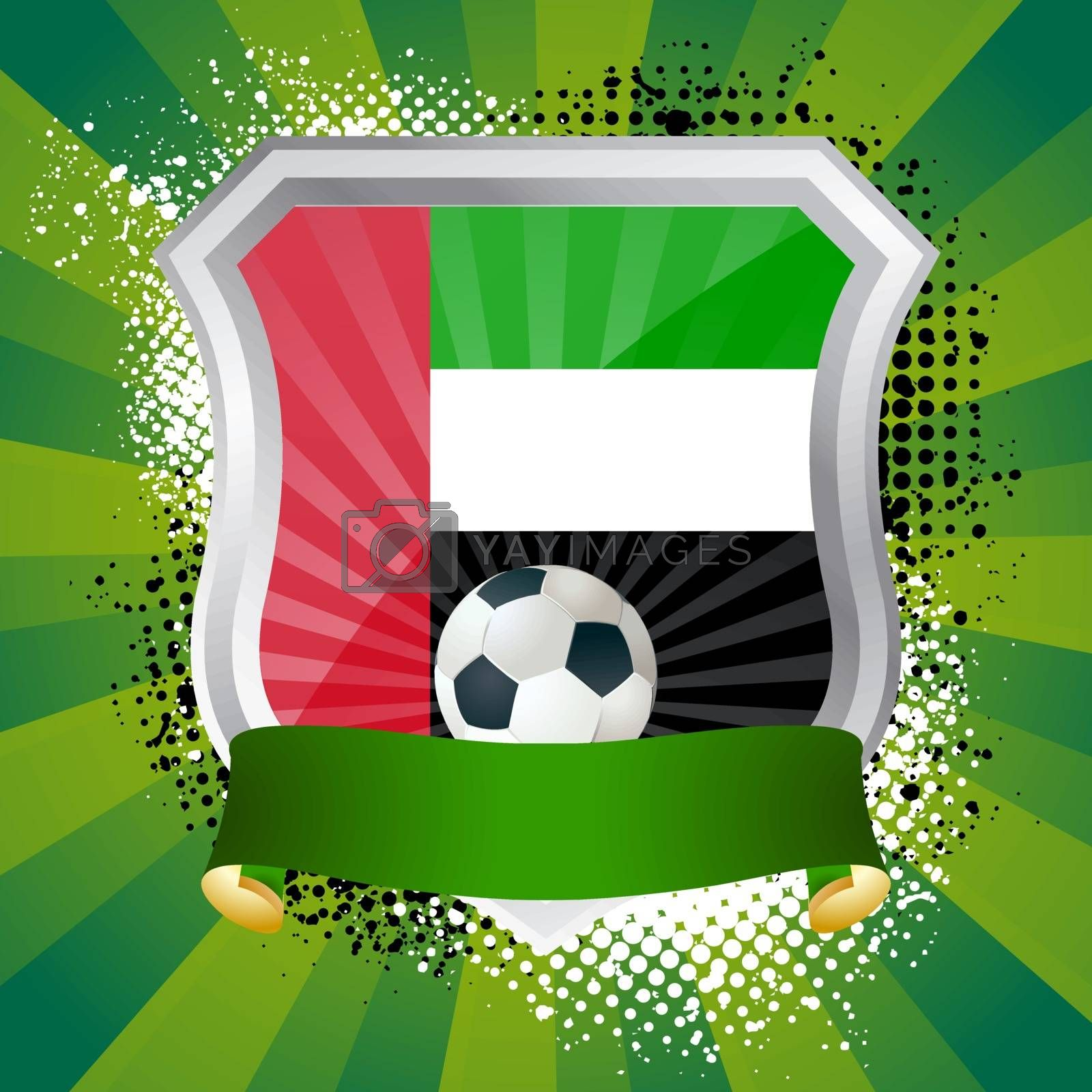 EPS 10. Shiny metal shield on bright background with flag of United Arab Emirates
