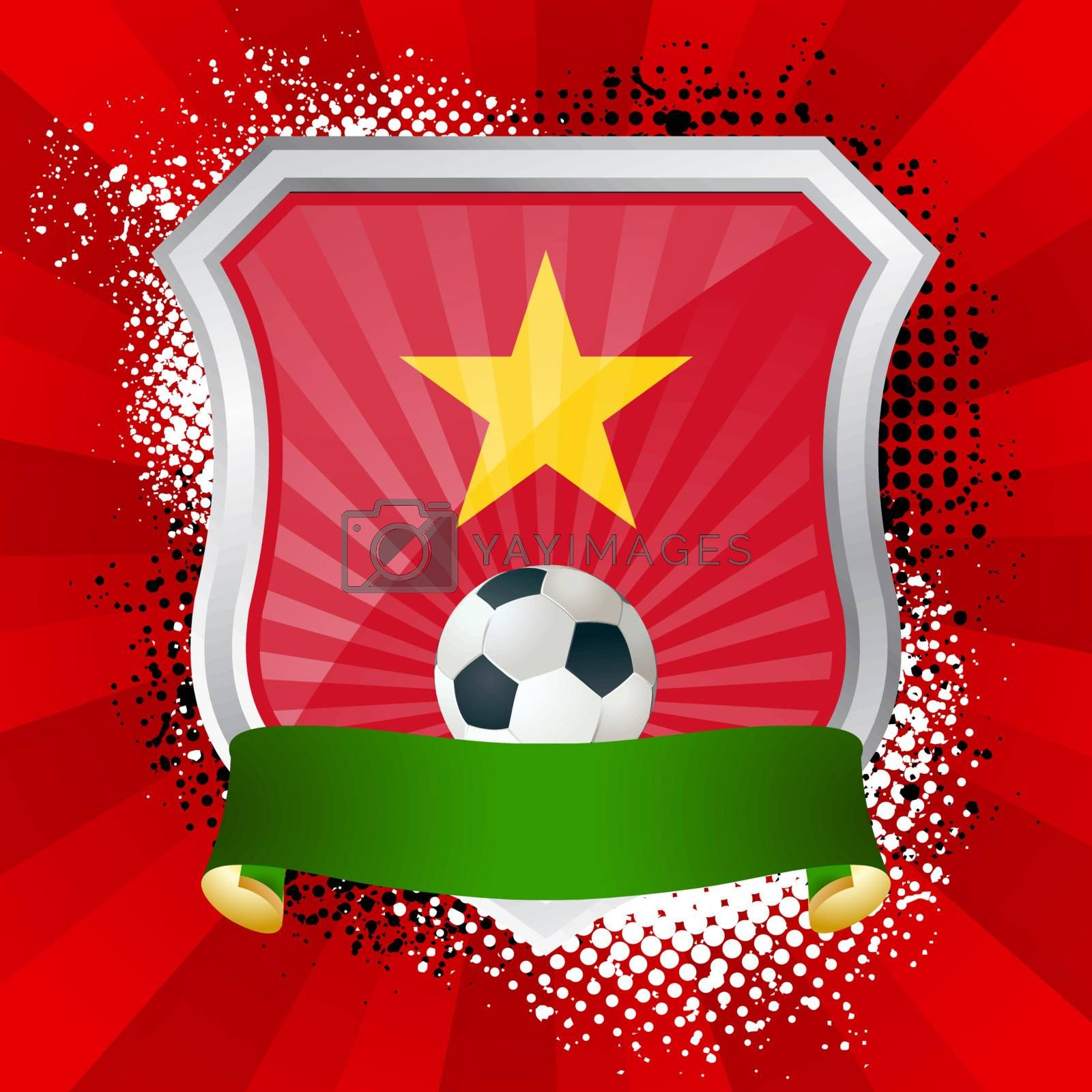 EPS 10. Shiny metal shield on bright background with flag of Vietnam