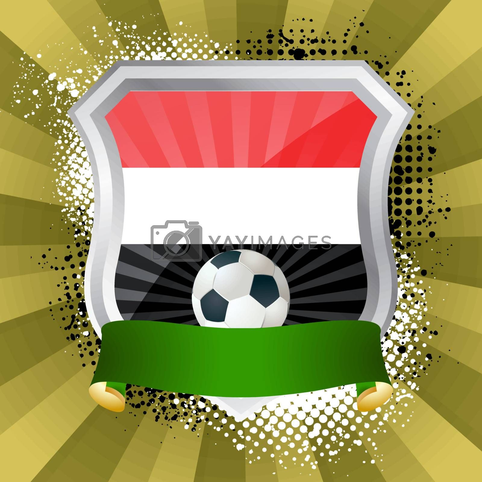EPS 10. Shiny metal shield on bright background with flag of Yemen