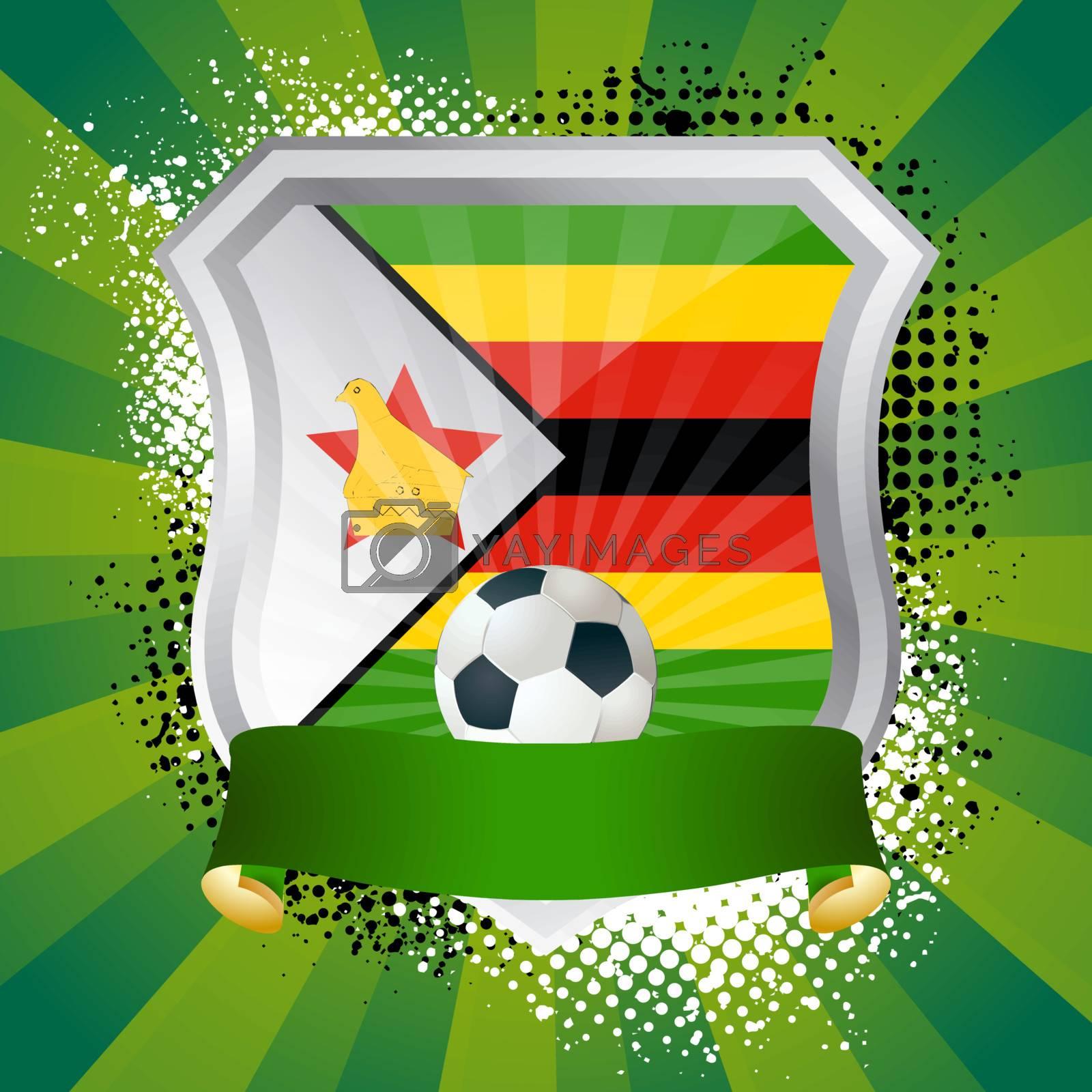 EPS 10. Shiny metal shield on bright background with flag of Zimbabwe