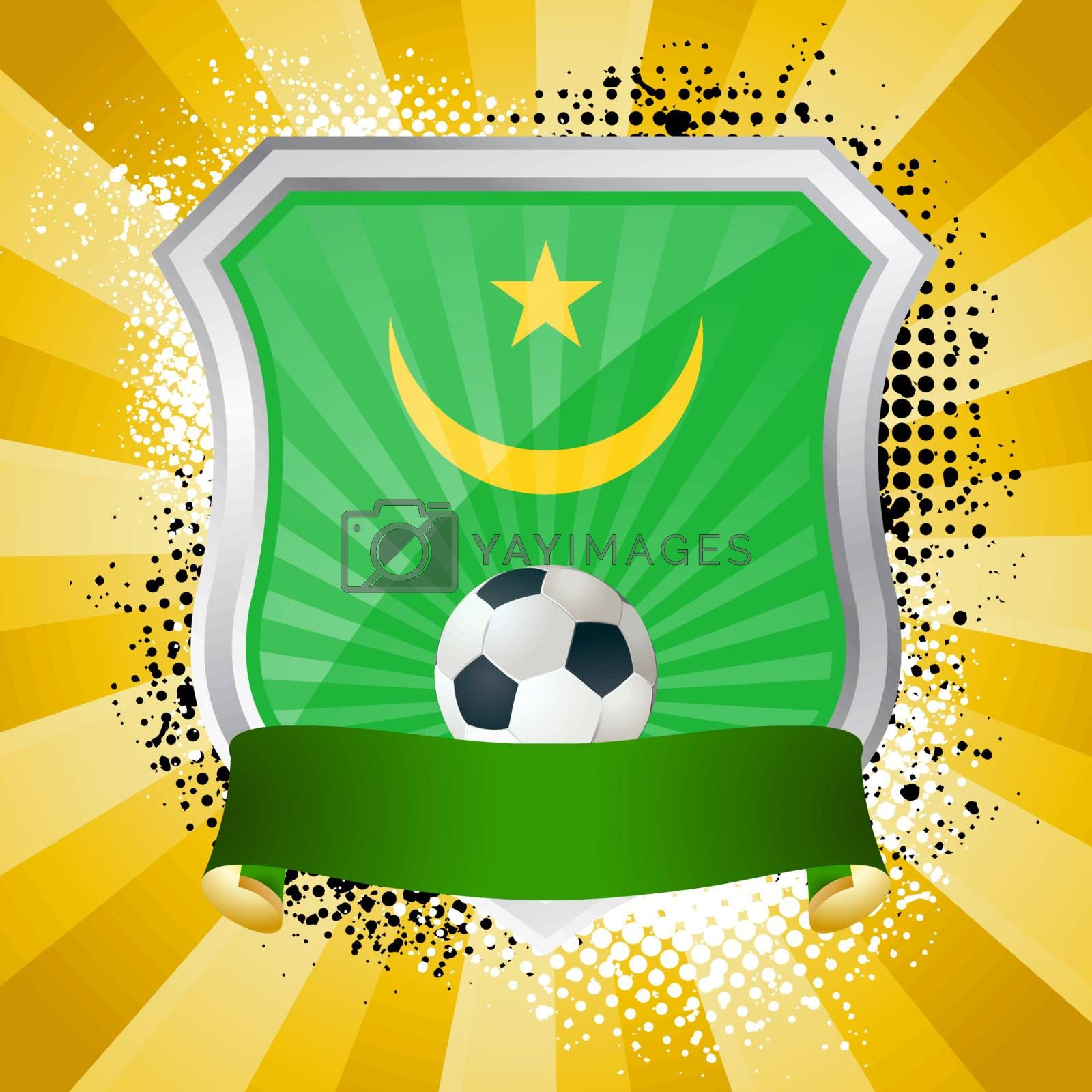 EPS 10. Shiny metal shield on bright background with flag of Mauritania
