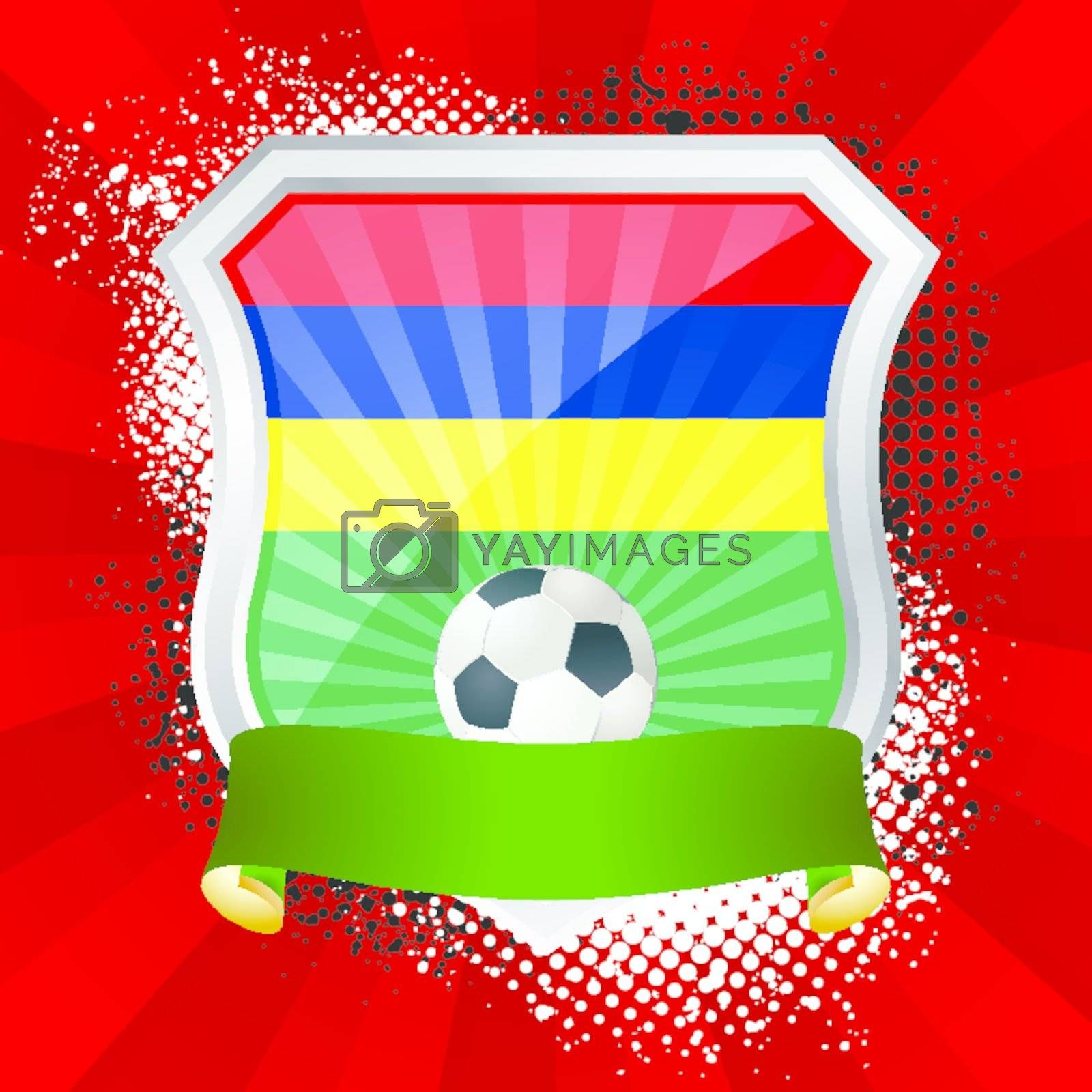 EPS 10. Shiny metal shield on bright background with flag of Mauritius