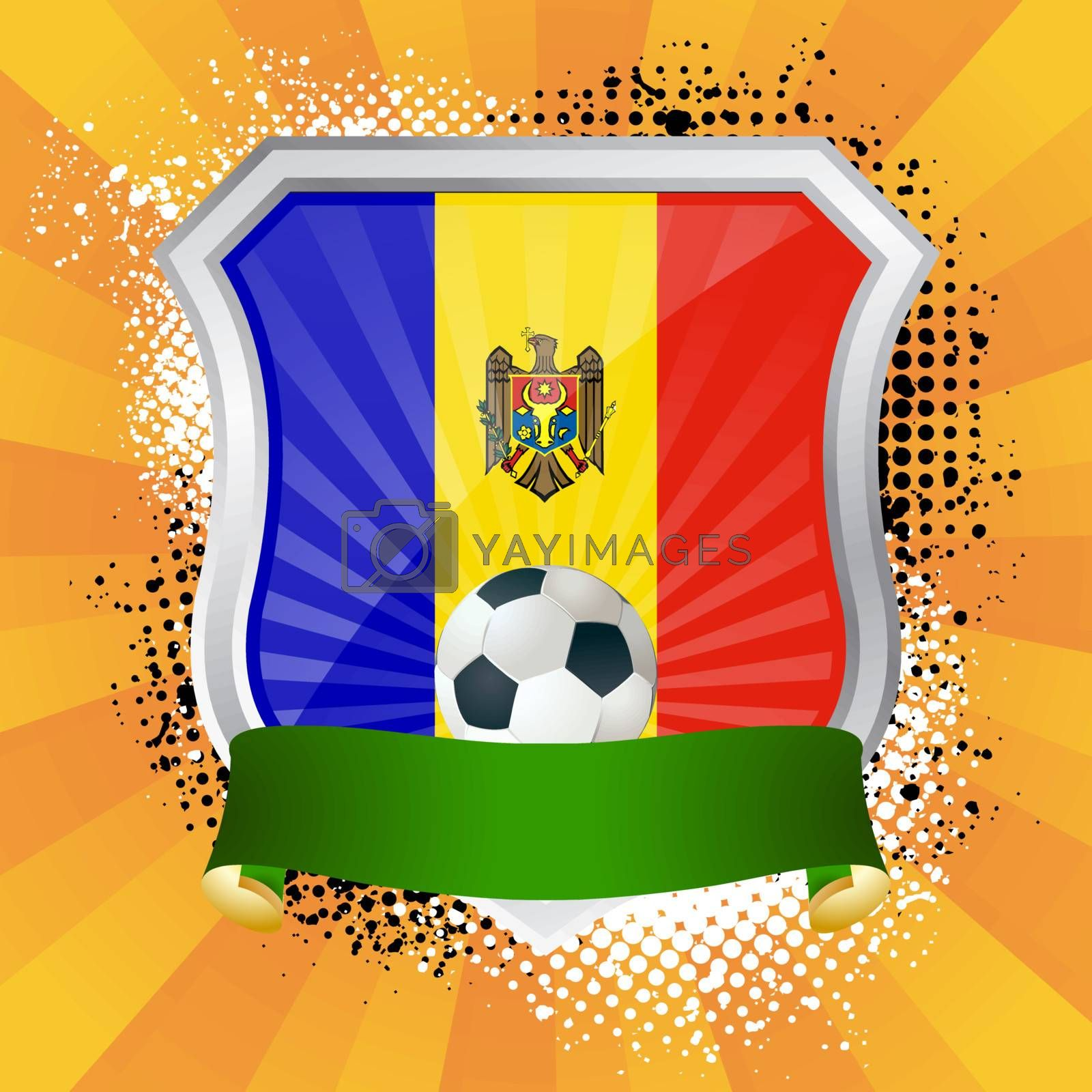 EPS 10. Shiny metal shield on bright background with flag of Moldova