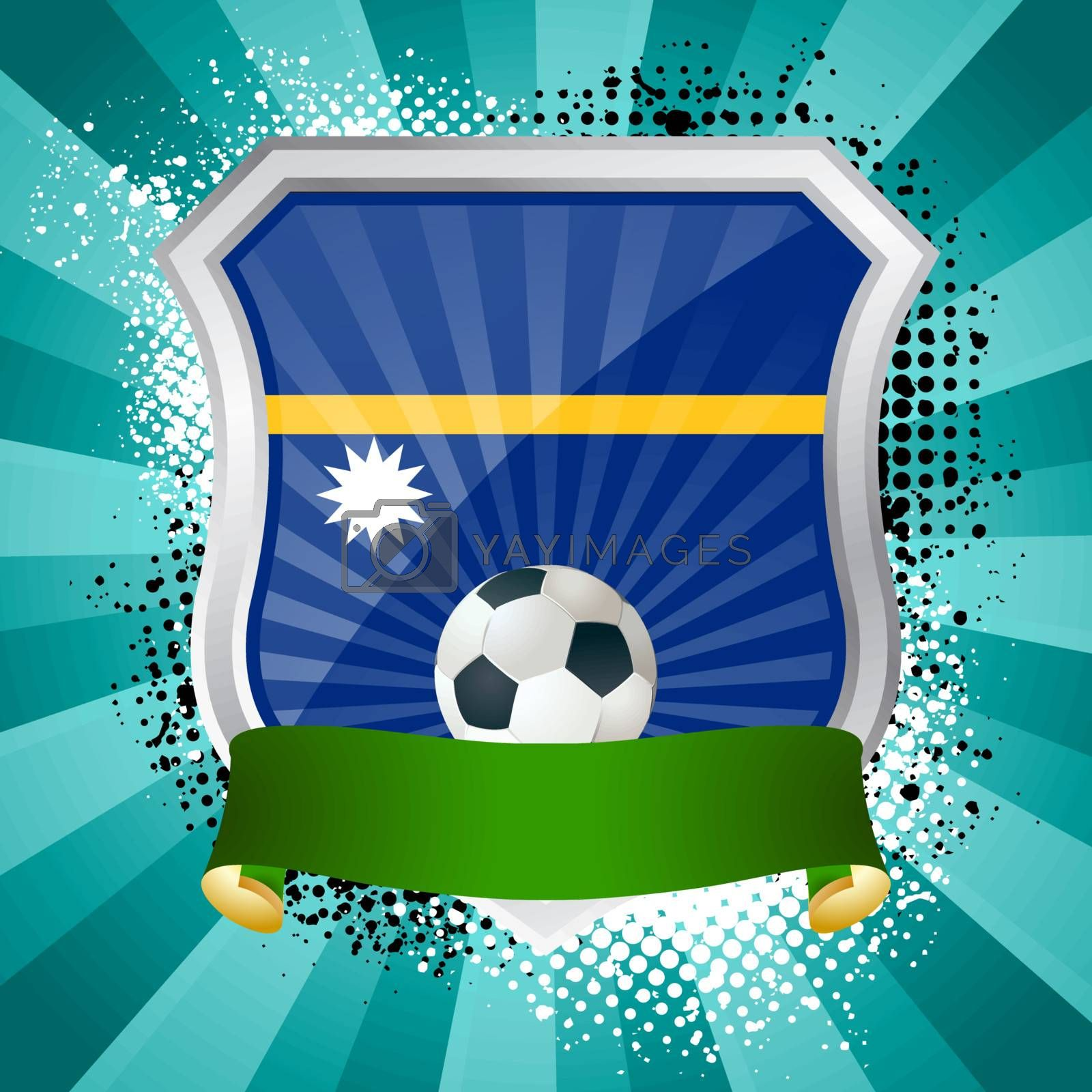 EPS 10. Shiny metal shield on bright background with flag of Nauru