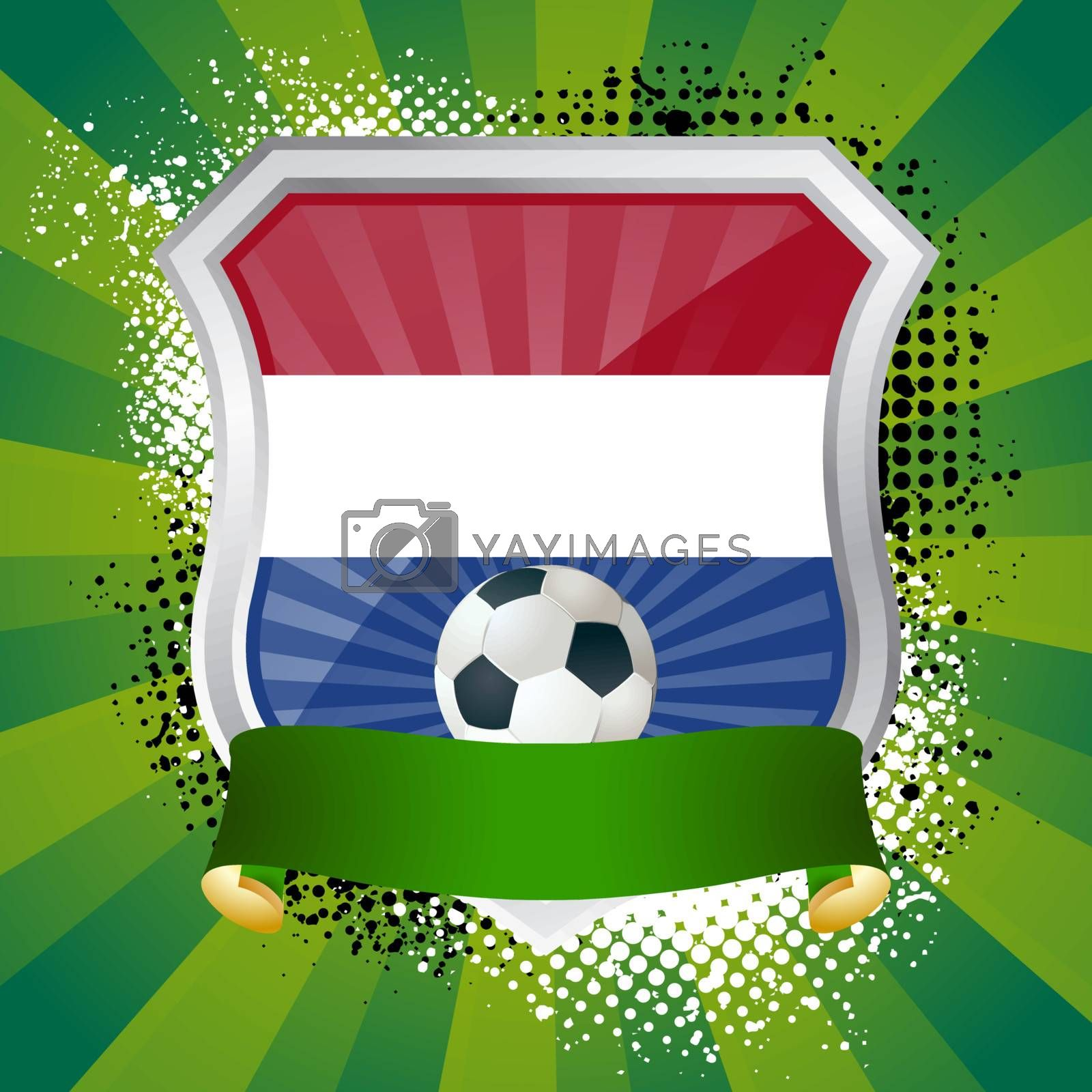 EPS 10. Shiny metal shield on bright background with flag of Netherlands