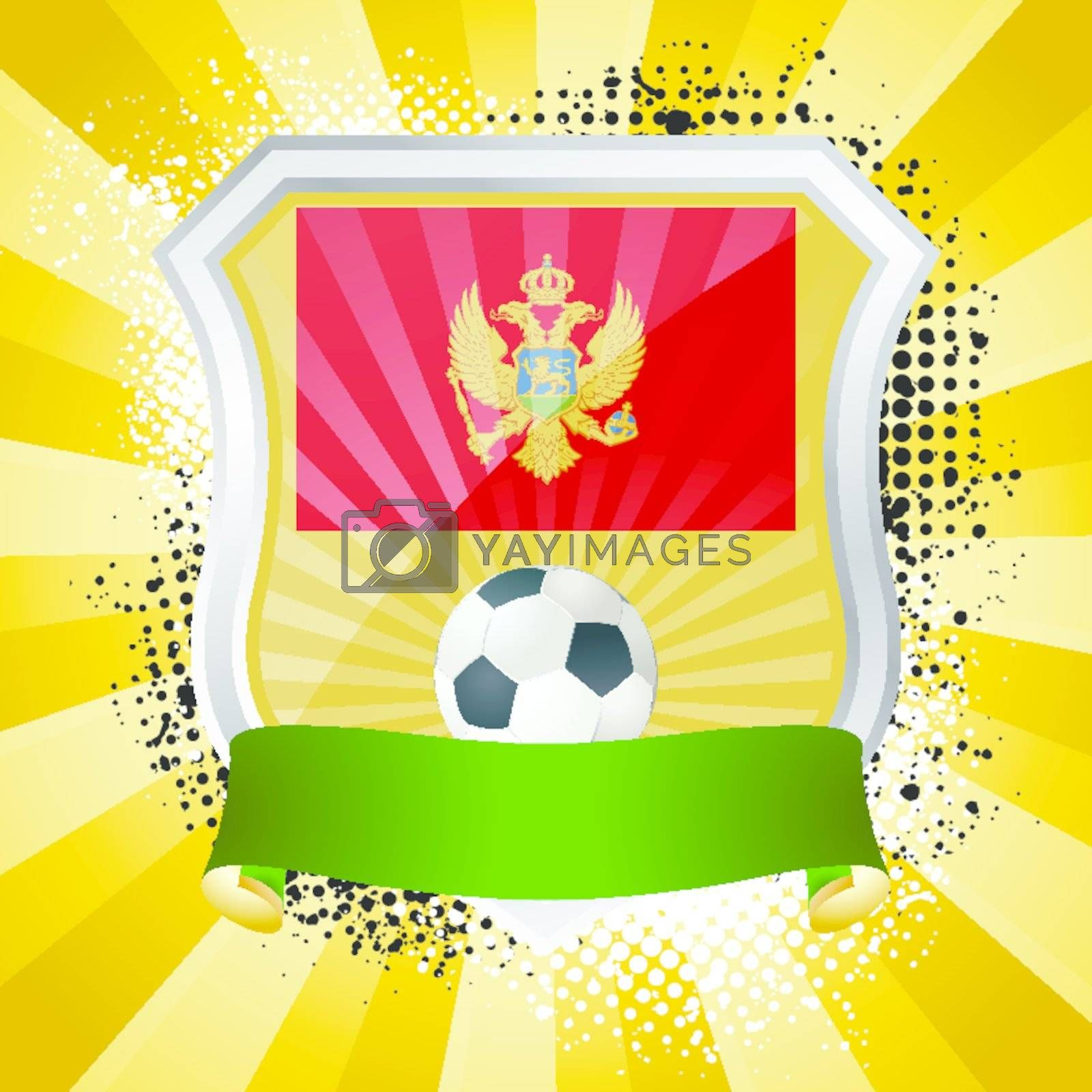 EPS 10. Shiny metal shield on bright background with flag of Montenegro
