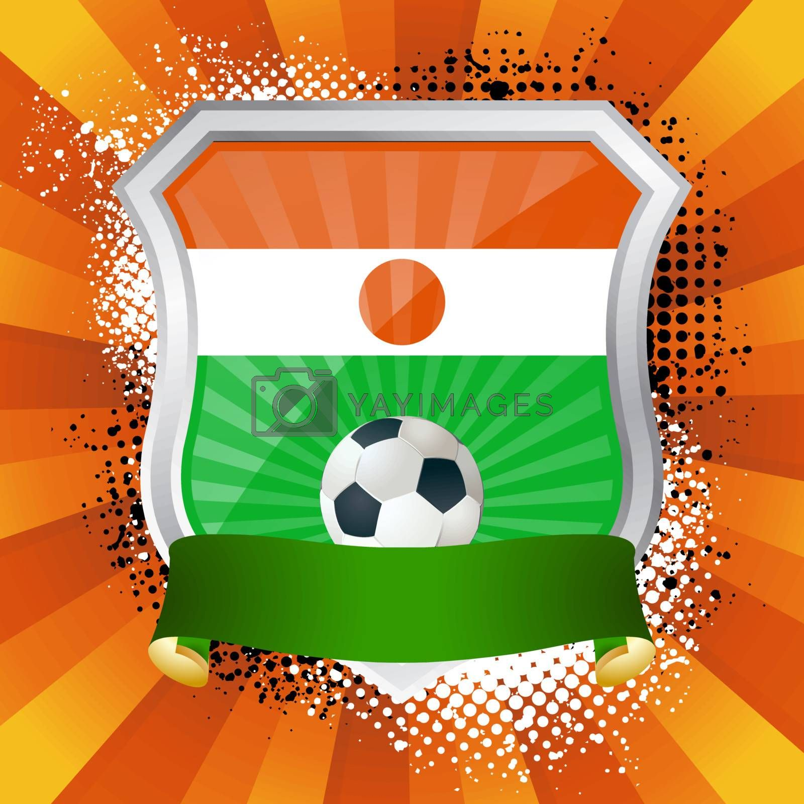 EPS 10. Shiny metal shield on bright background with flag of Niger