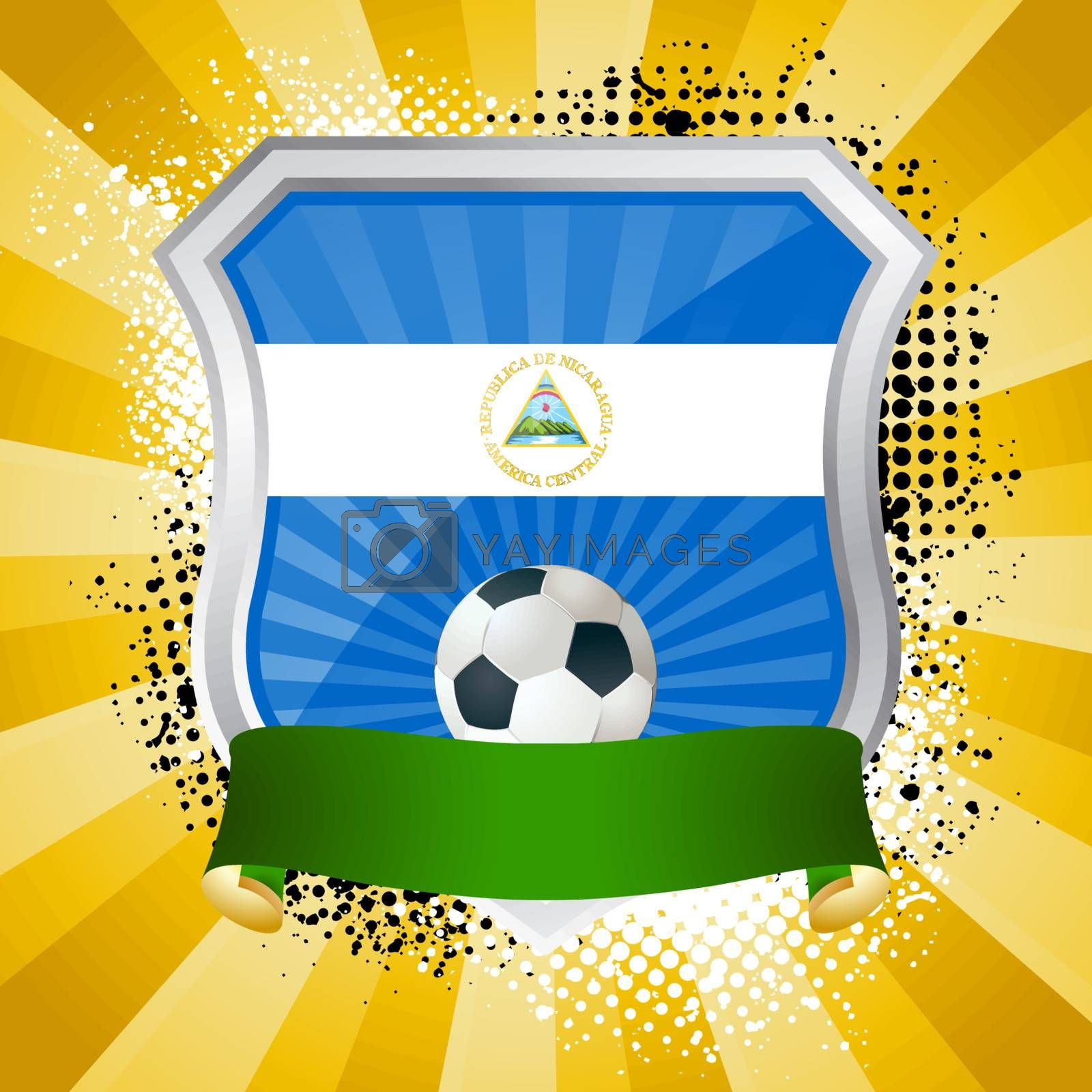 EPS 10. Shiny metal shield on bright background with flag of Nicaragua