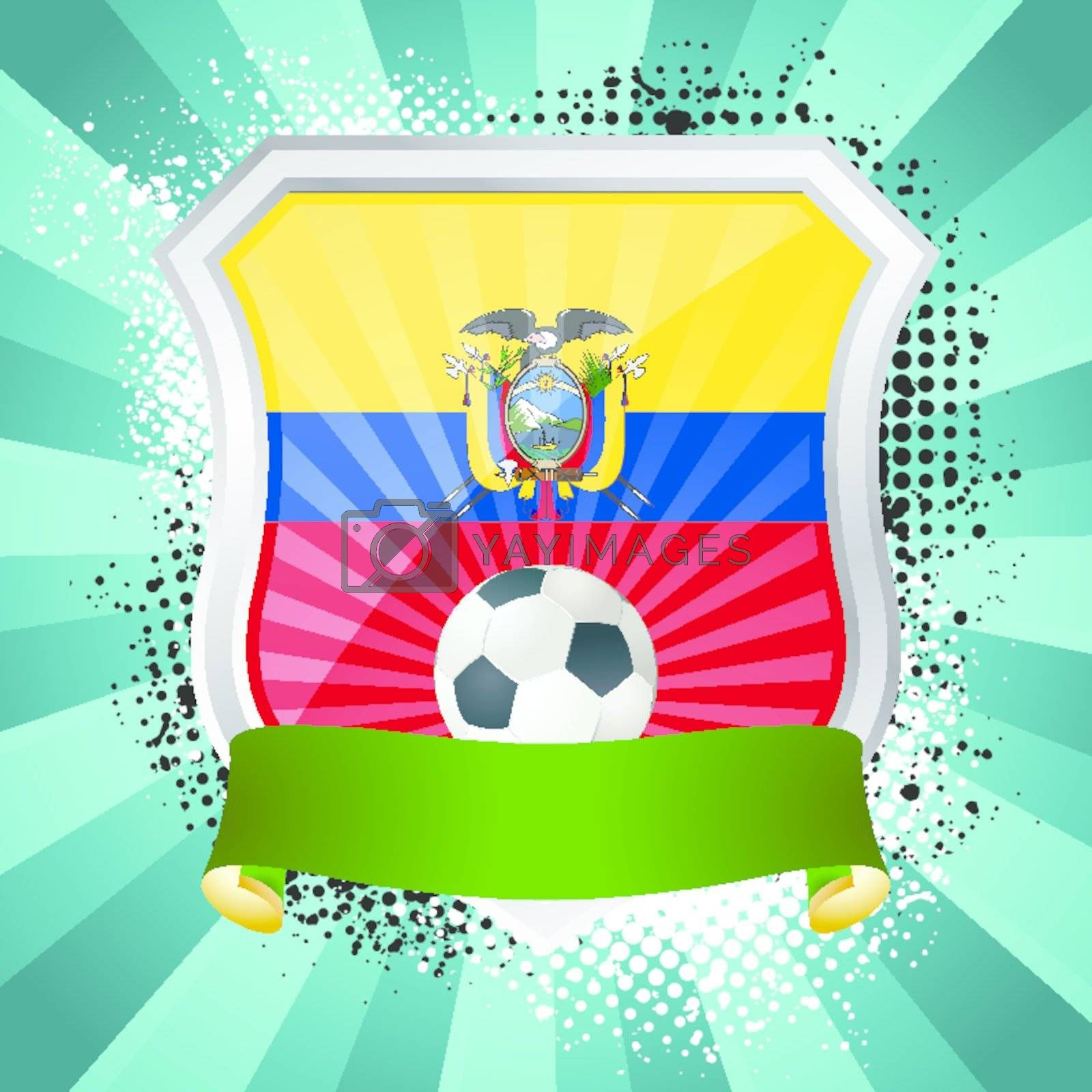 EPS 10. Shiny metal shield on bright background with flag of Ecuador