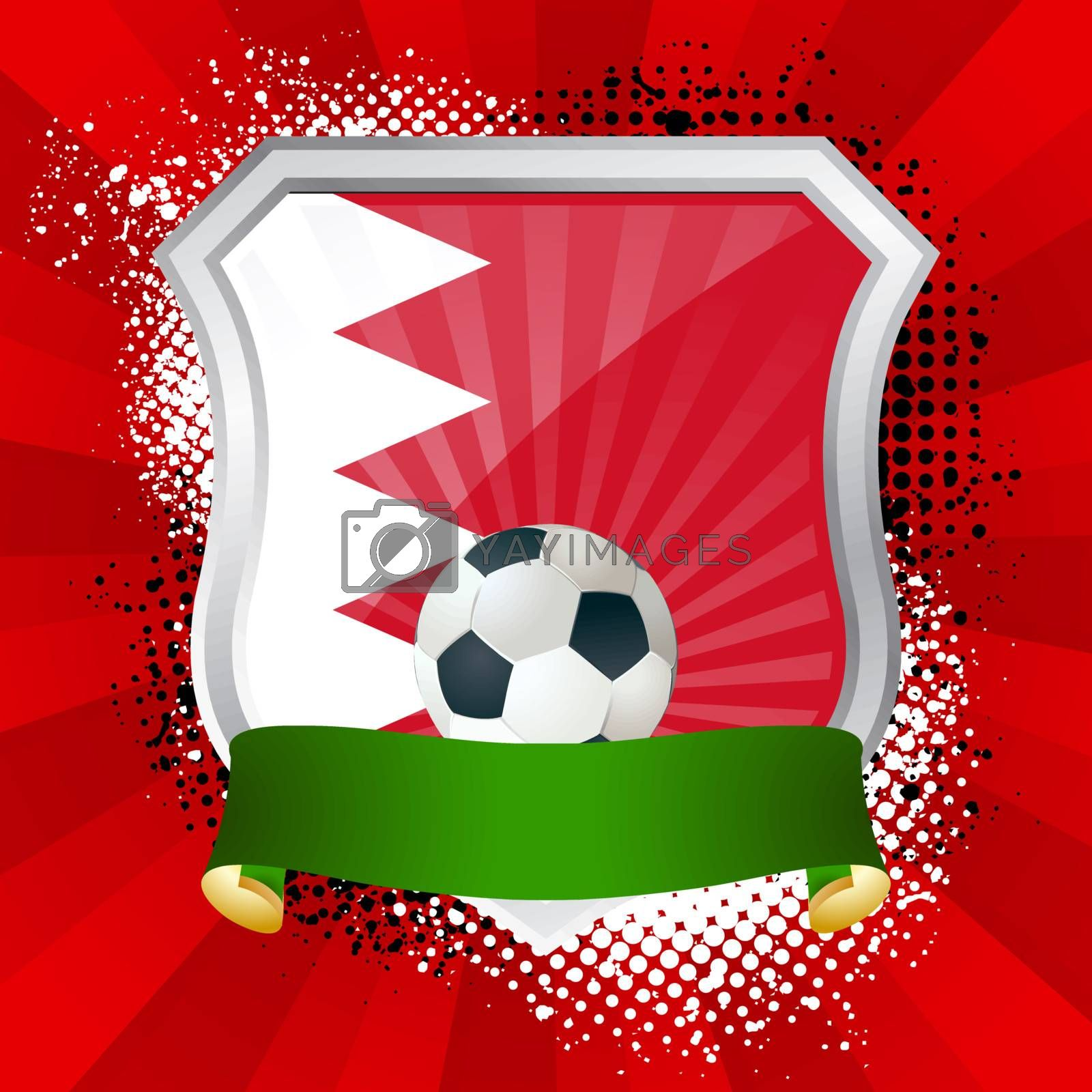 EPS 10. Shiny metal shield on bright background with flag of Bahrain