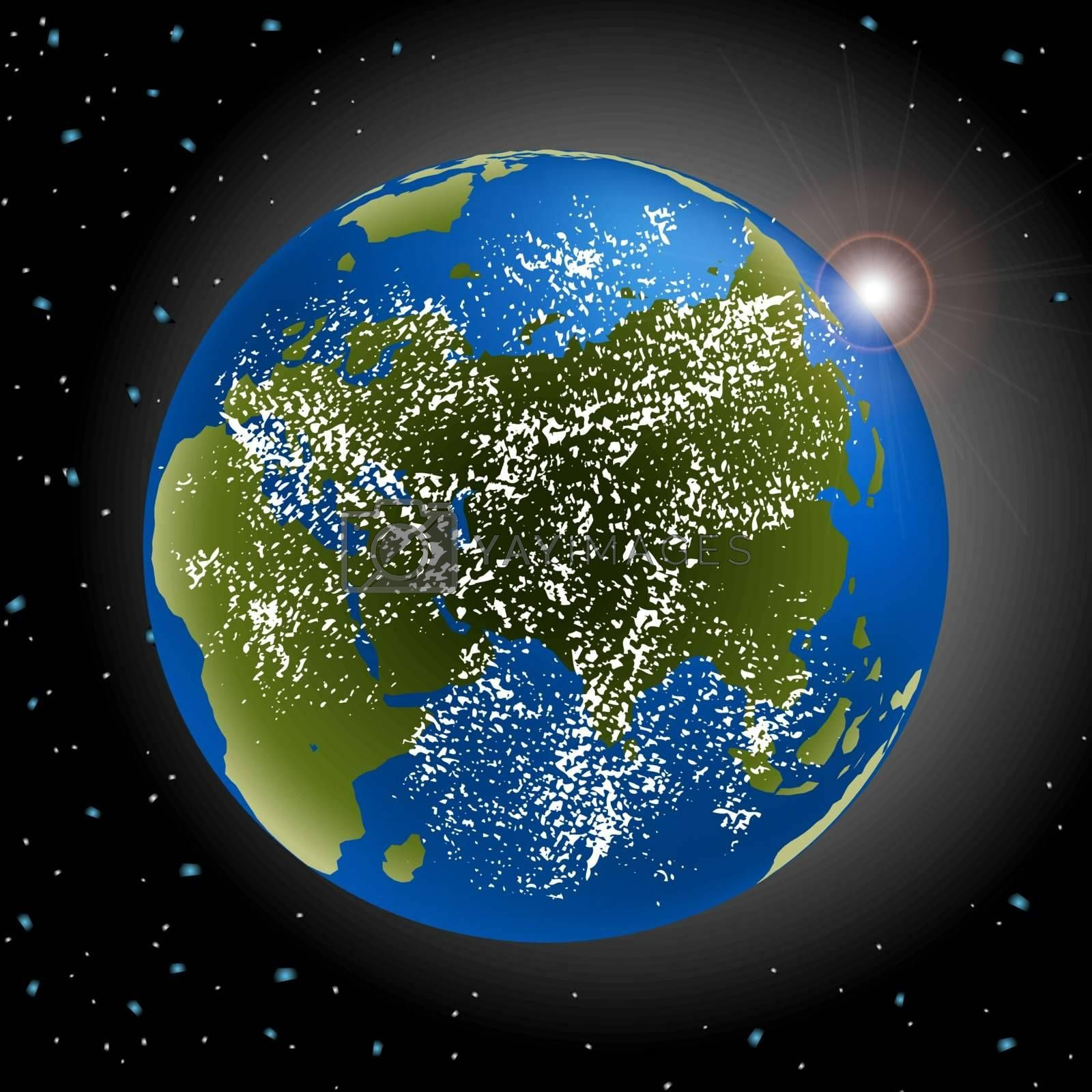 Vector of earth in space with sun rising and clouds EPS 10 vector file included